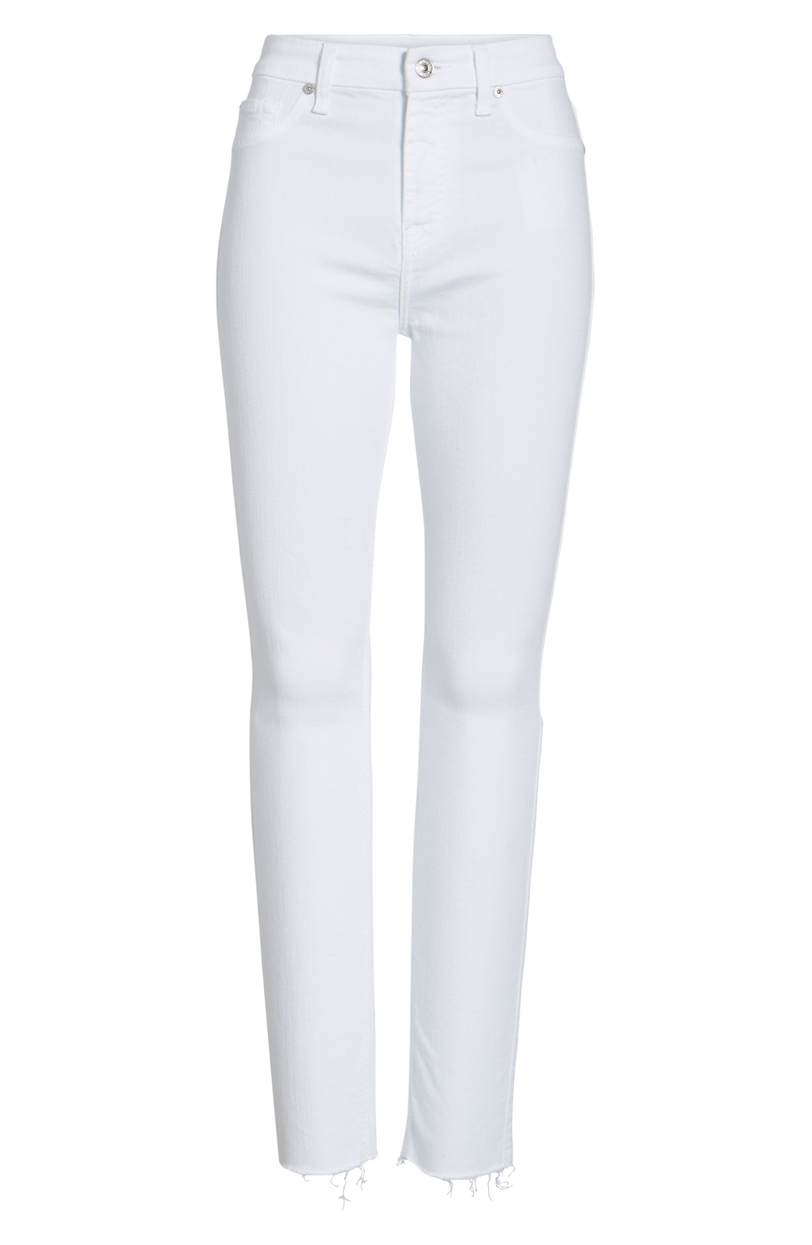Alternate Image 6  - 7 For All Mankind® Raw Hem Skinny Jeans (Clean White Exclusive)