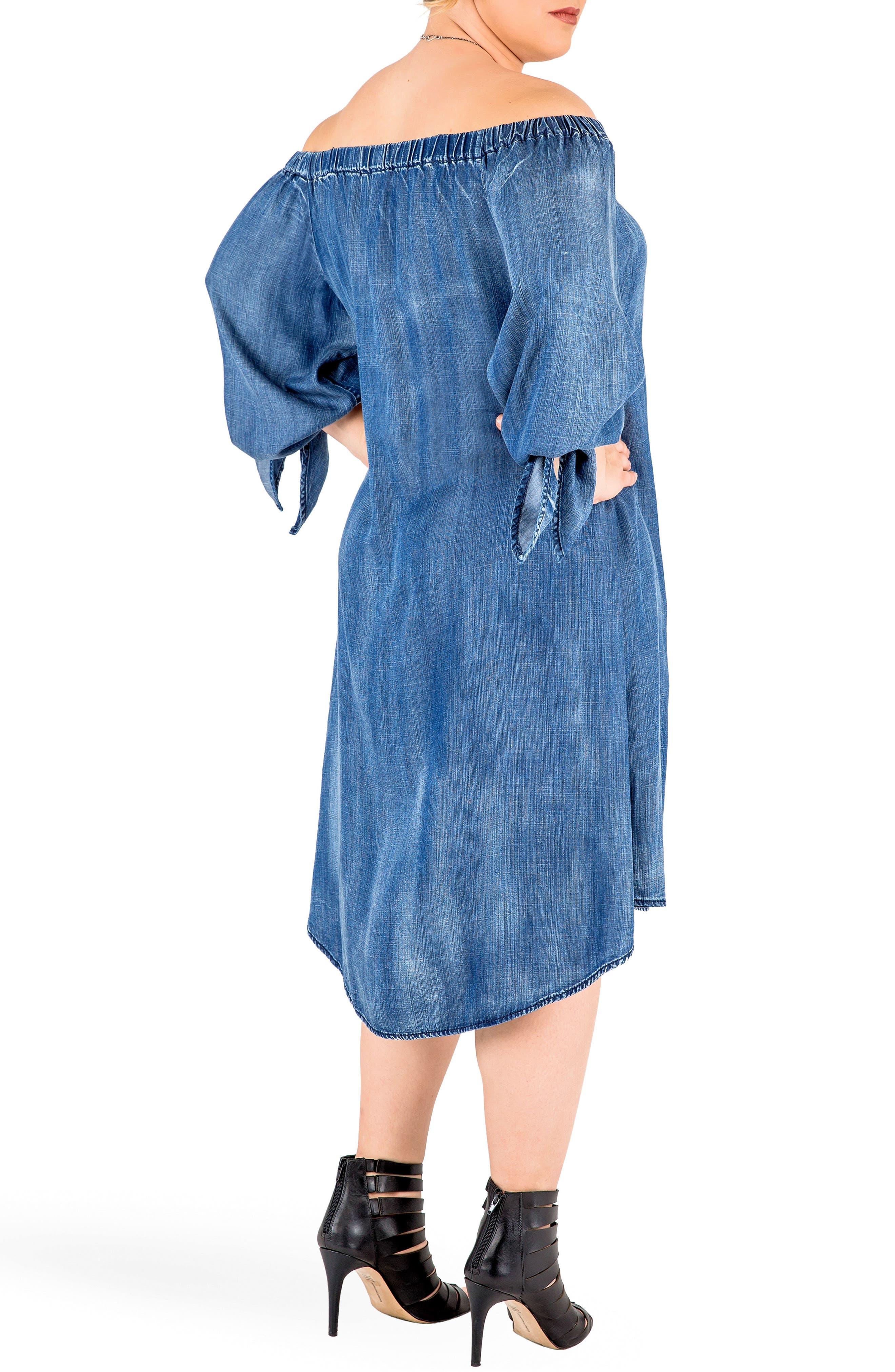 Julie Off the Shoulder Denim Dress,                             Alternate thumbnail 4, color,                             Frozen Pond