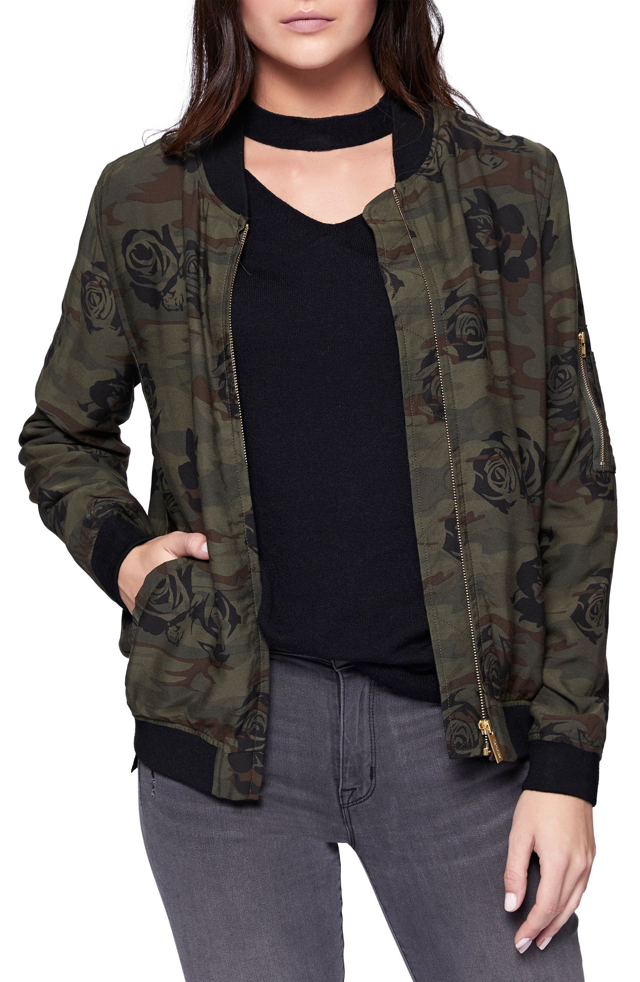 Alternate Image 1 Selected - Sanctuary Midnight Rose Camo Bomber