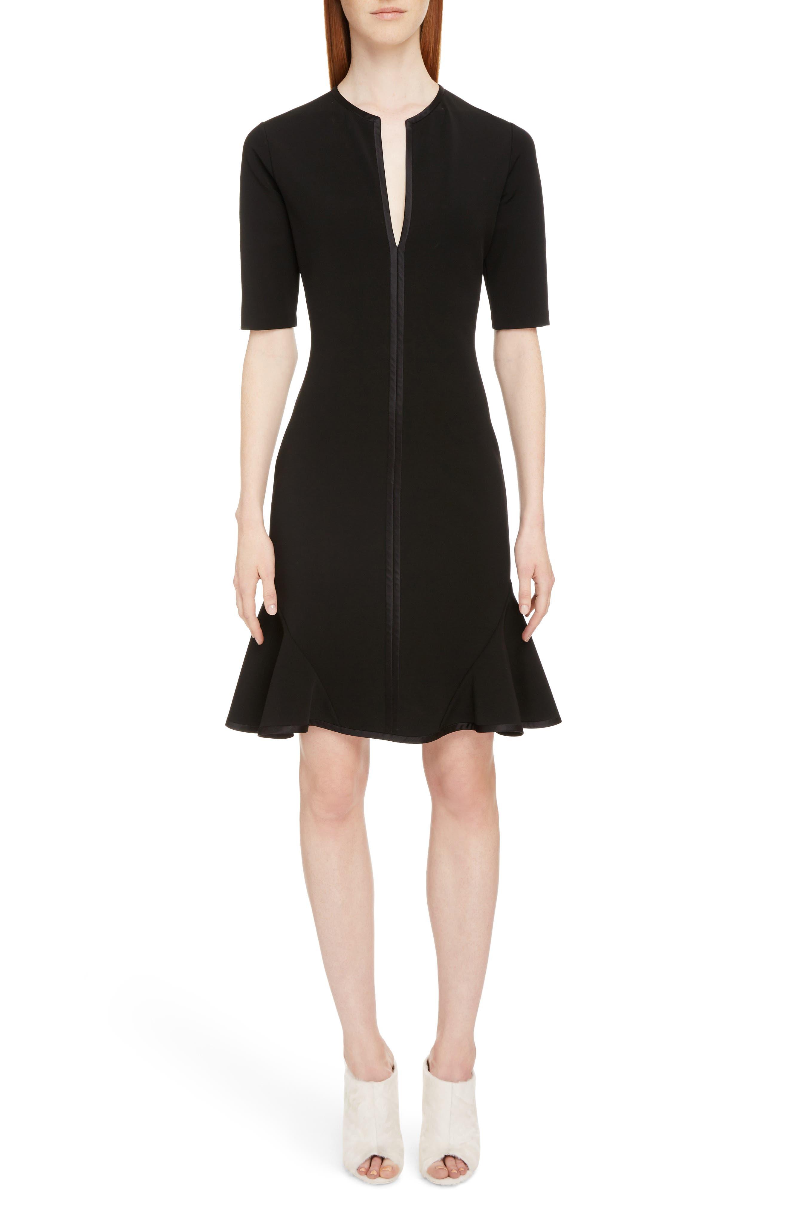 Split Neck Punto Milano Dress,                             Main thumbnail 1, color,                             Black