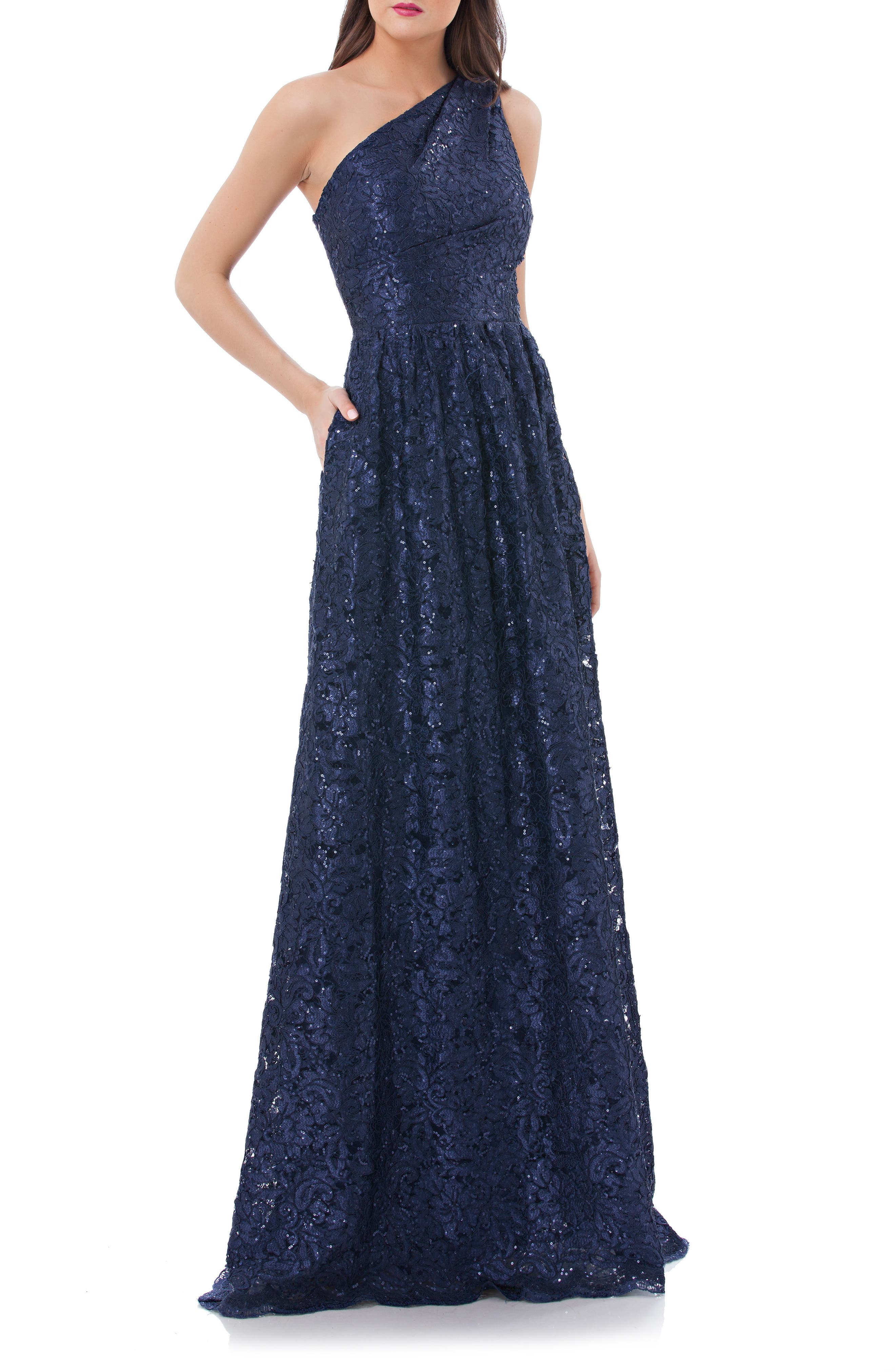 One Shoulder Sequin Lace Gown,                         Main,                         color, Navy