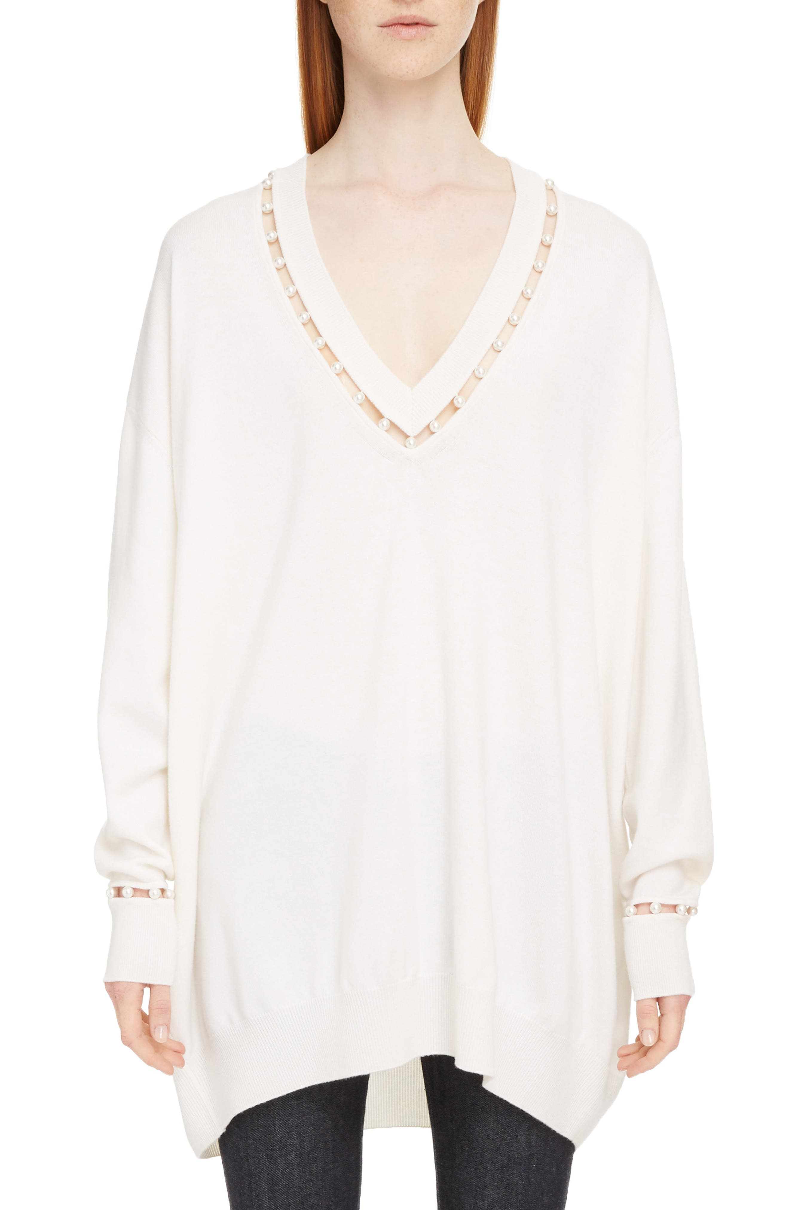 Imitation Pearl Embellished Cashmere & Wool Sweater,                         Main,                         color, Off White