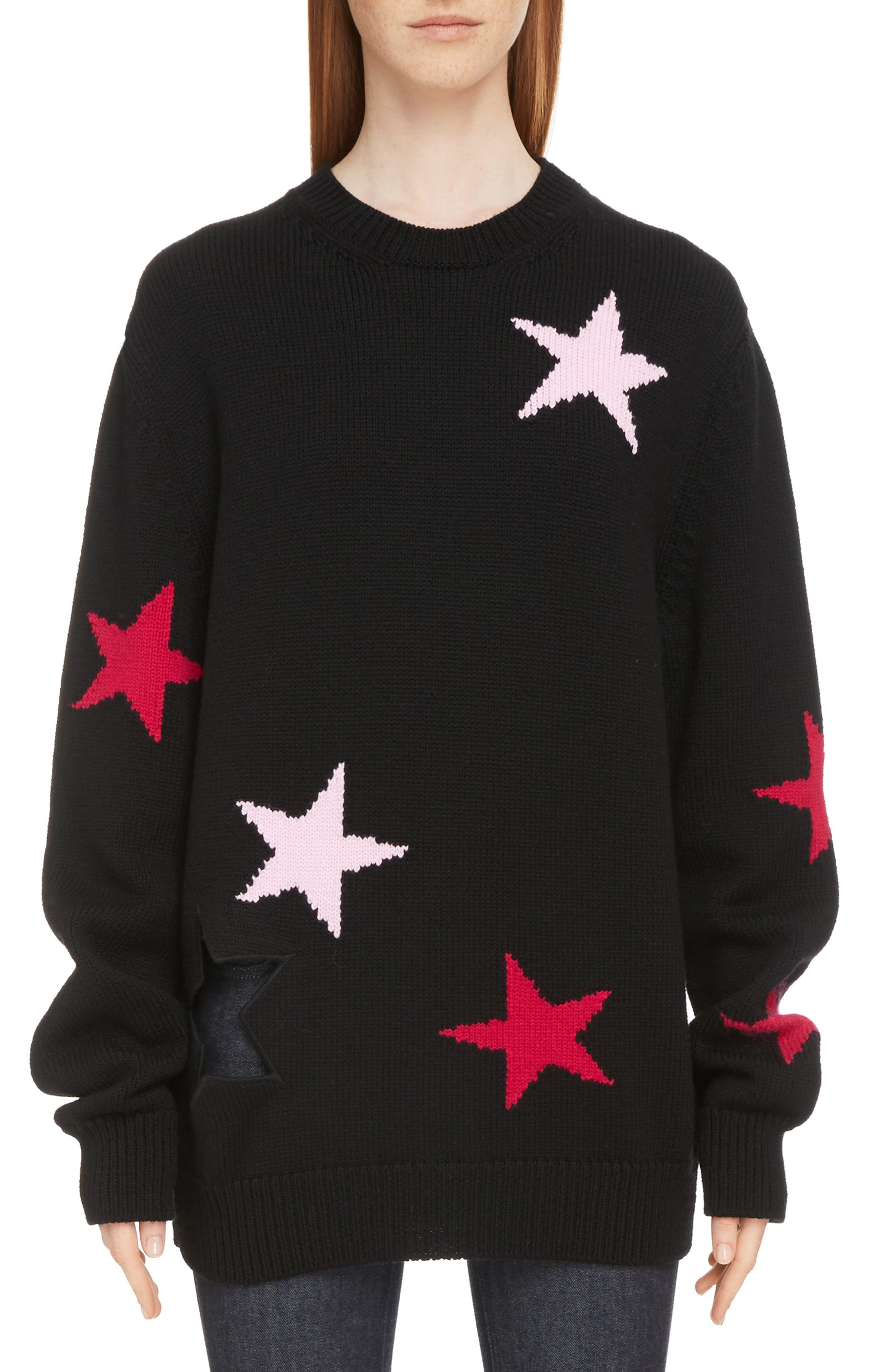 Star Cutout Wool Sweater,                             Main thumbnail 1, color,                             Black