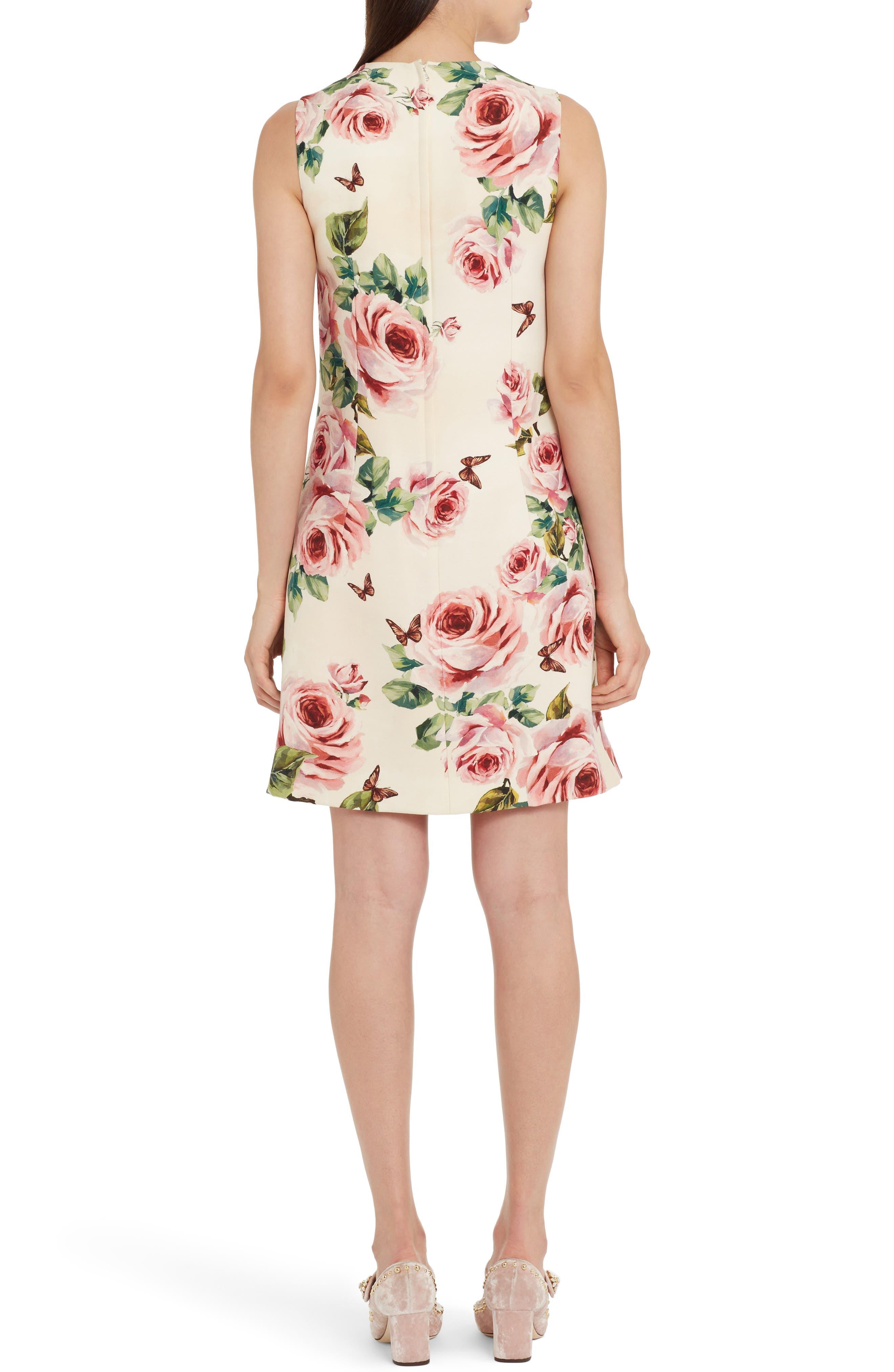 Rose Print Wool & Silk Shift Dress,                             Alternate thumbnail 2, color,                             Pink