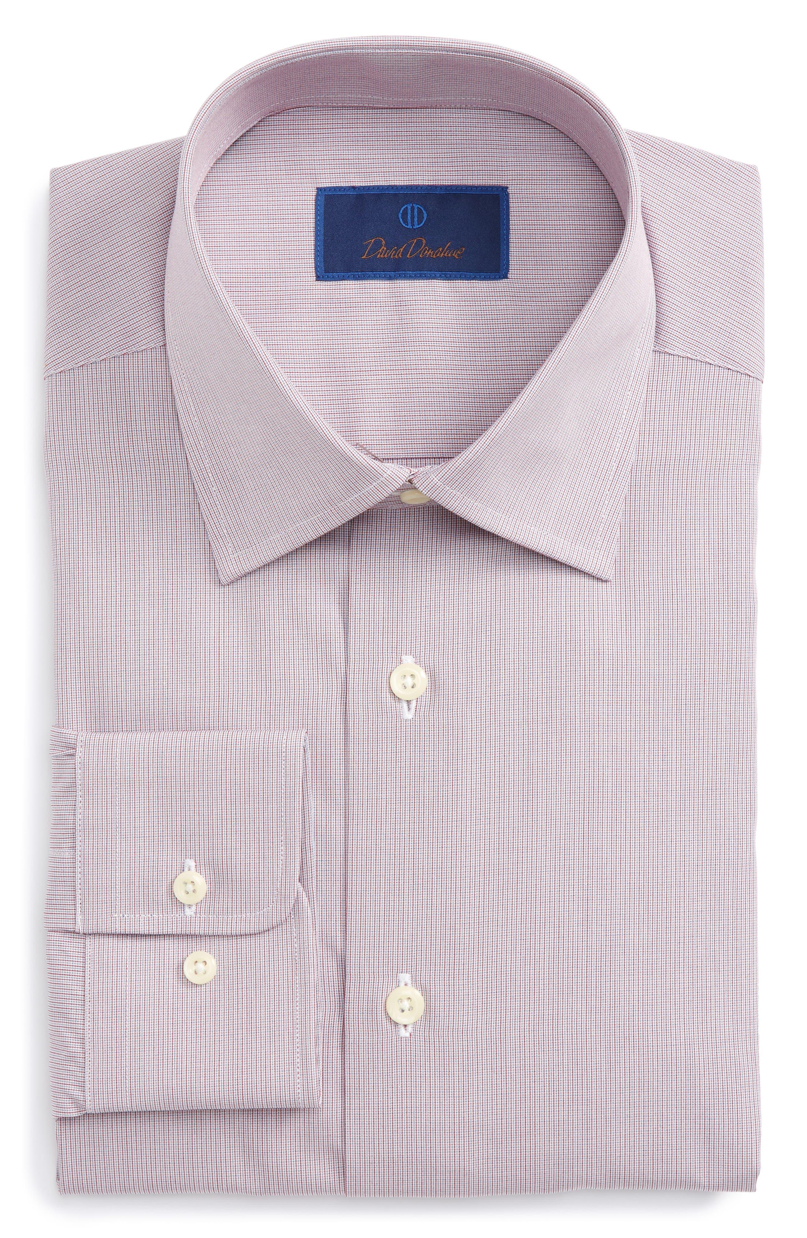 Regular Fit Check Dress Shirt,                         Main,                         color, Merlot