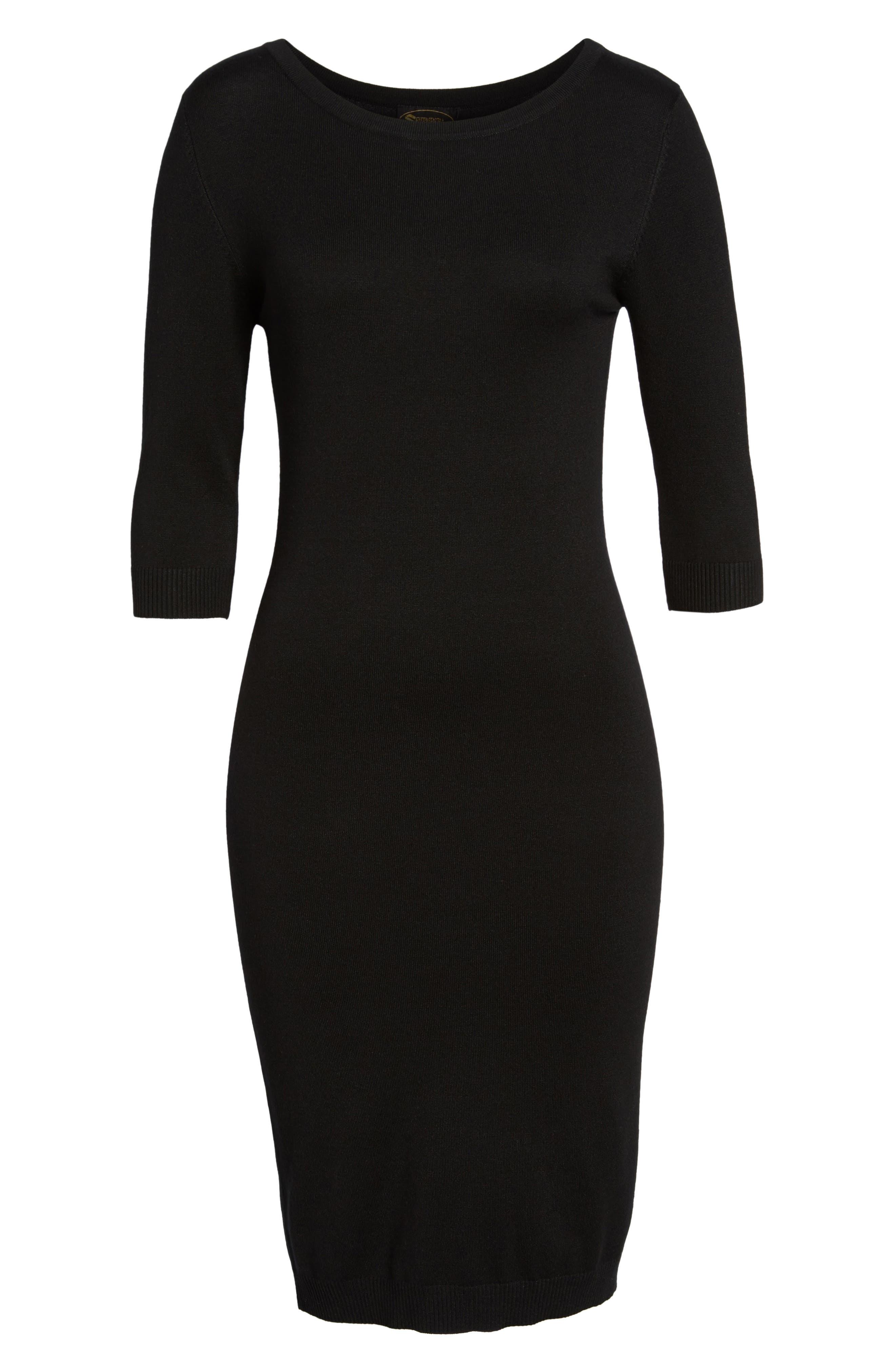 Elbow Sleeve Sweater Dress,                             Alternate thumbnail 6, color,                             Black