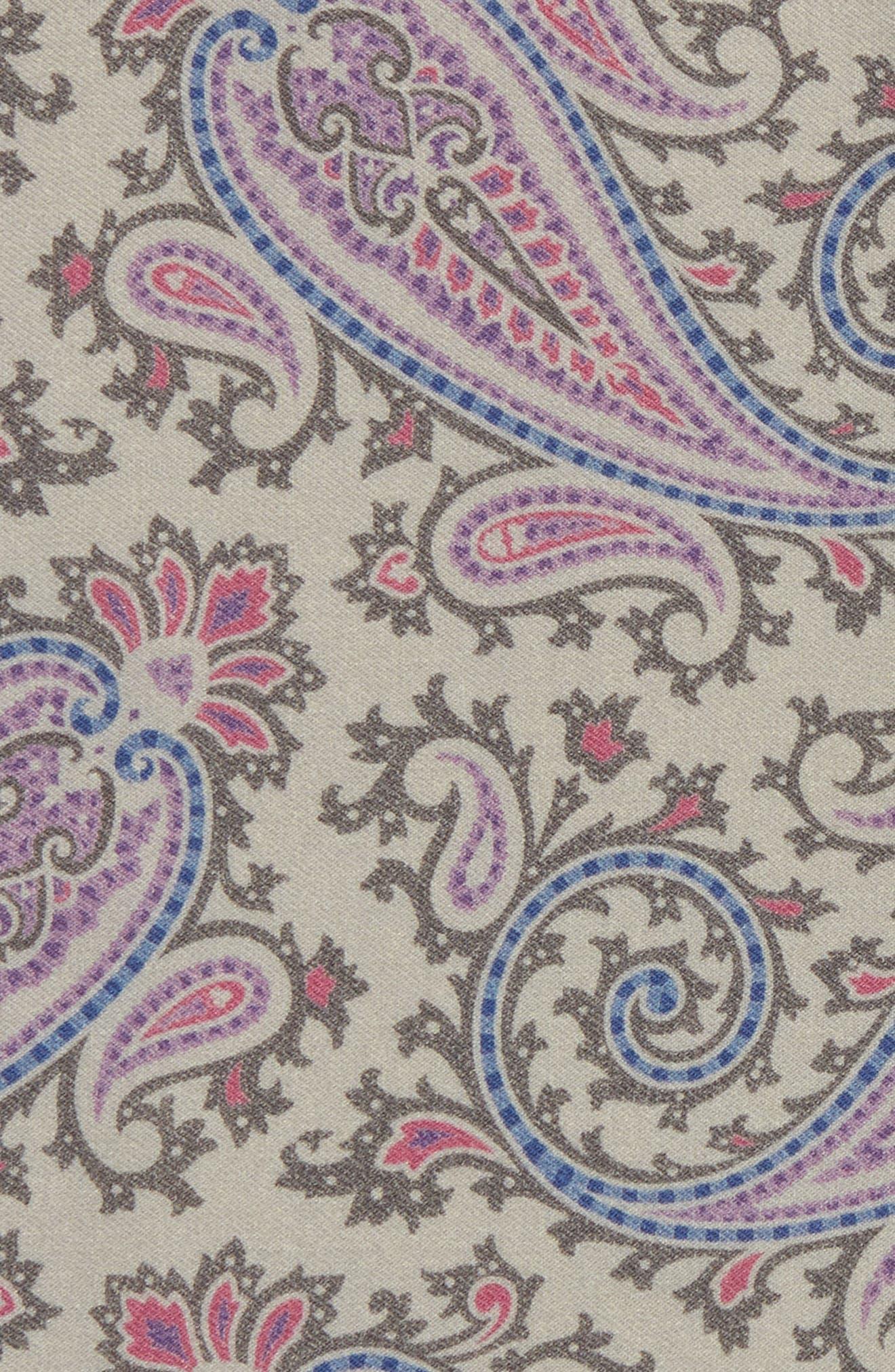 Paisley Wool Pocket Square,                             Alternate thumbnail 3, color,                             Grey