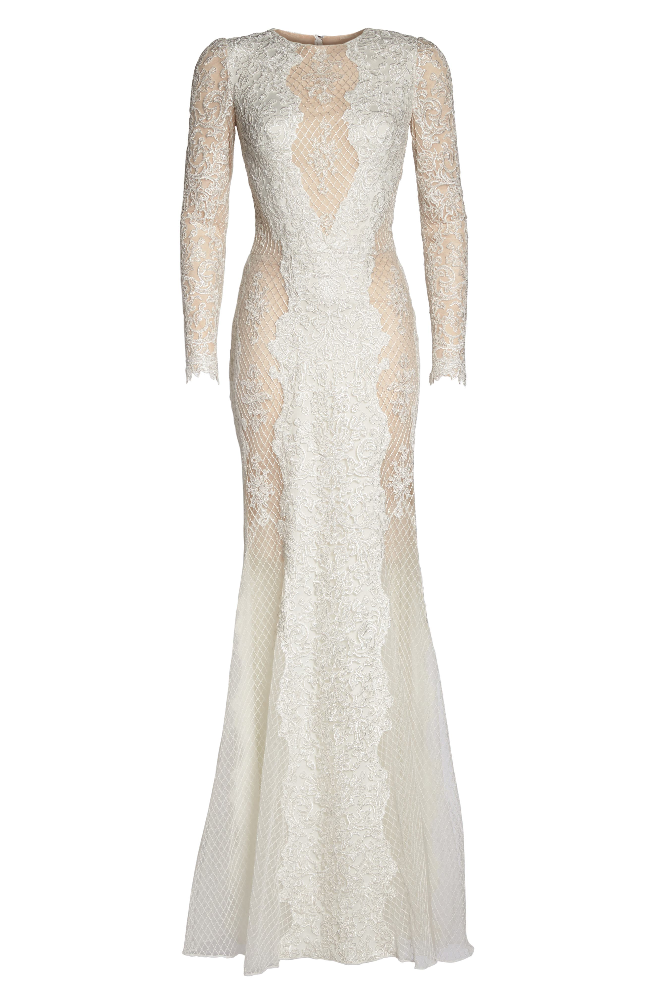 Lace & Mesh Trumpet Gown,                             Alternate thumbnail 6, color,                             Ivory