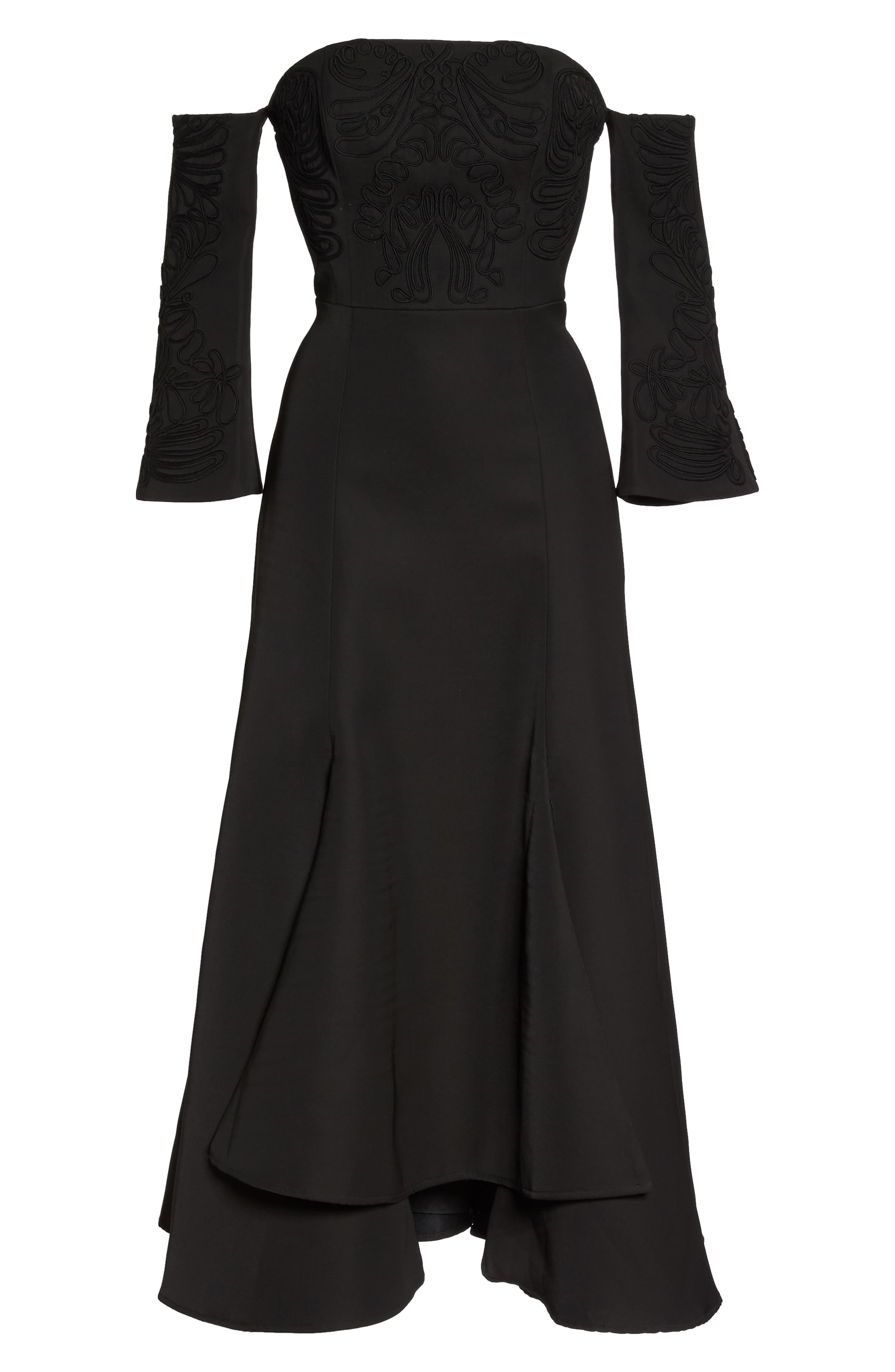 Paradise Off the Shoulder Midi Dress,                             Alternate thumbnail 6, color,                             Black