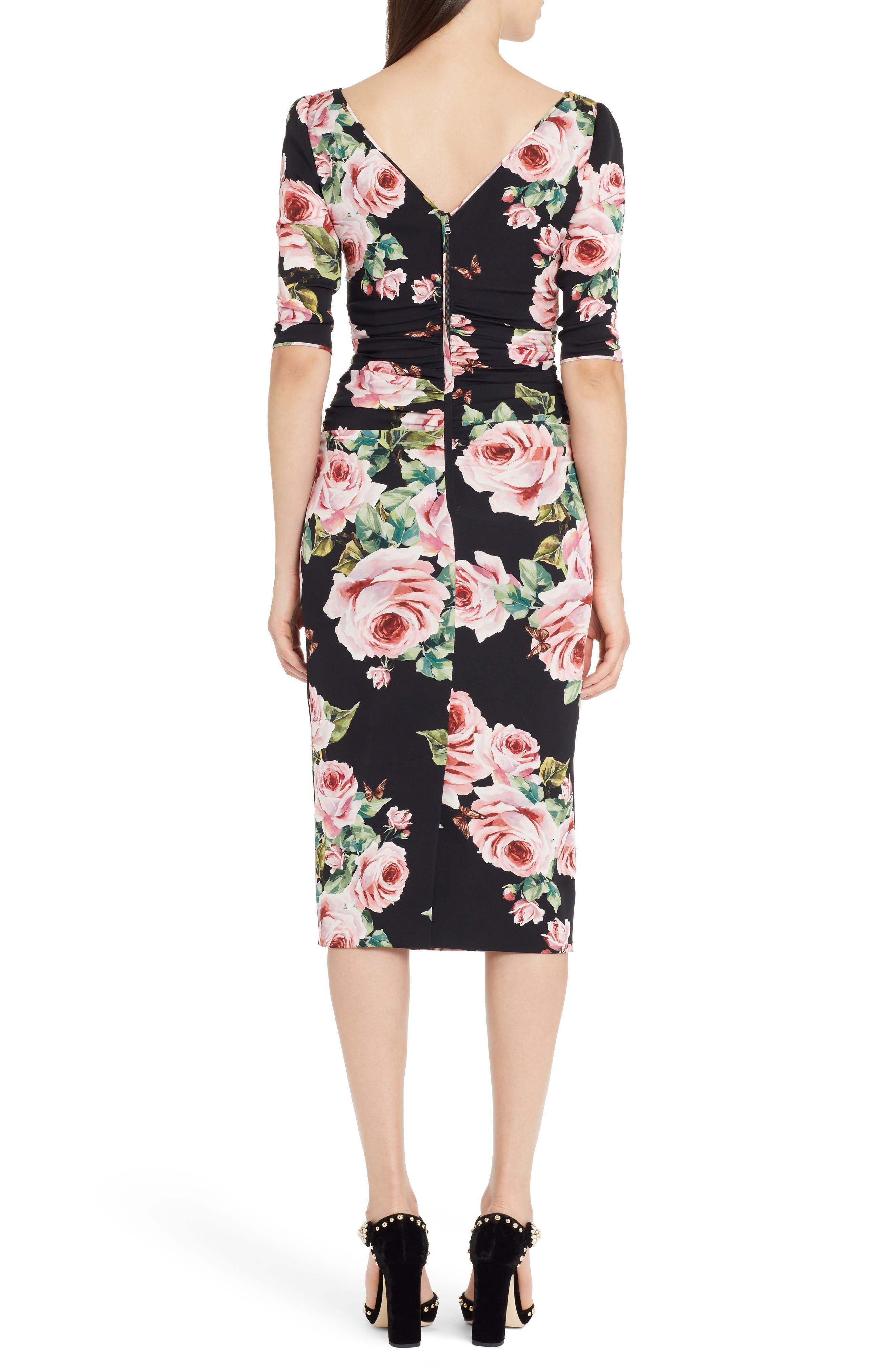 Alternate Image 2  - Dolce&Gabbana Rose Print Stretch Silk Dress