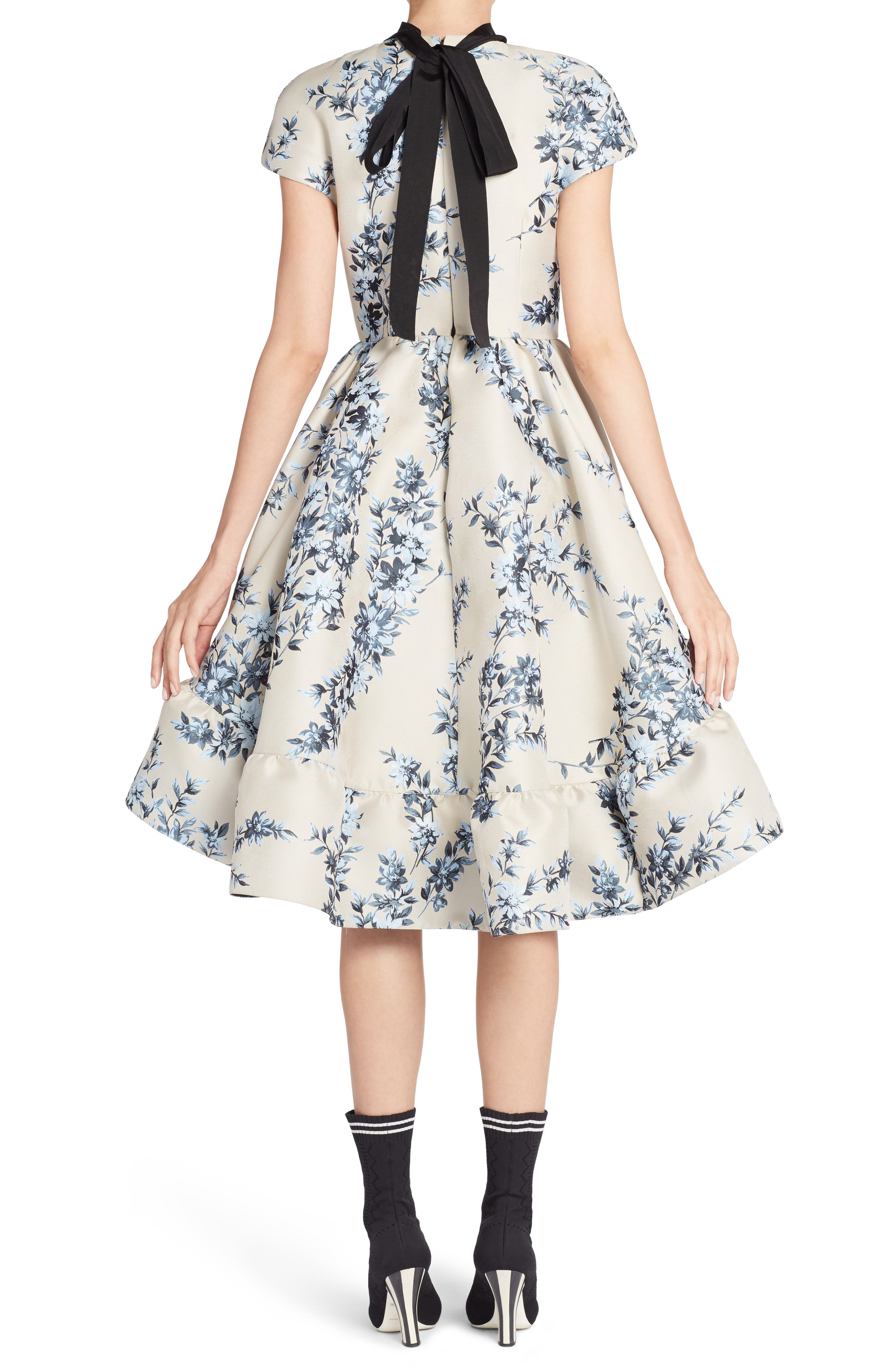 Floral Ramage Fit & Flare Dress,                             Alternate thumbnail 2, color,                             Faith Blue