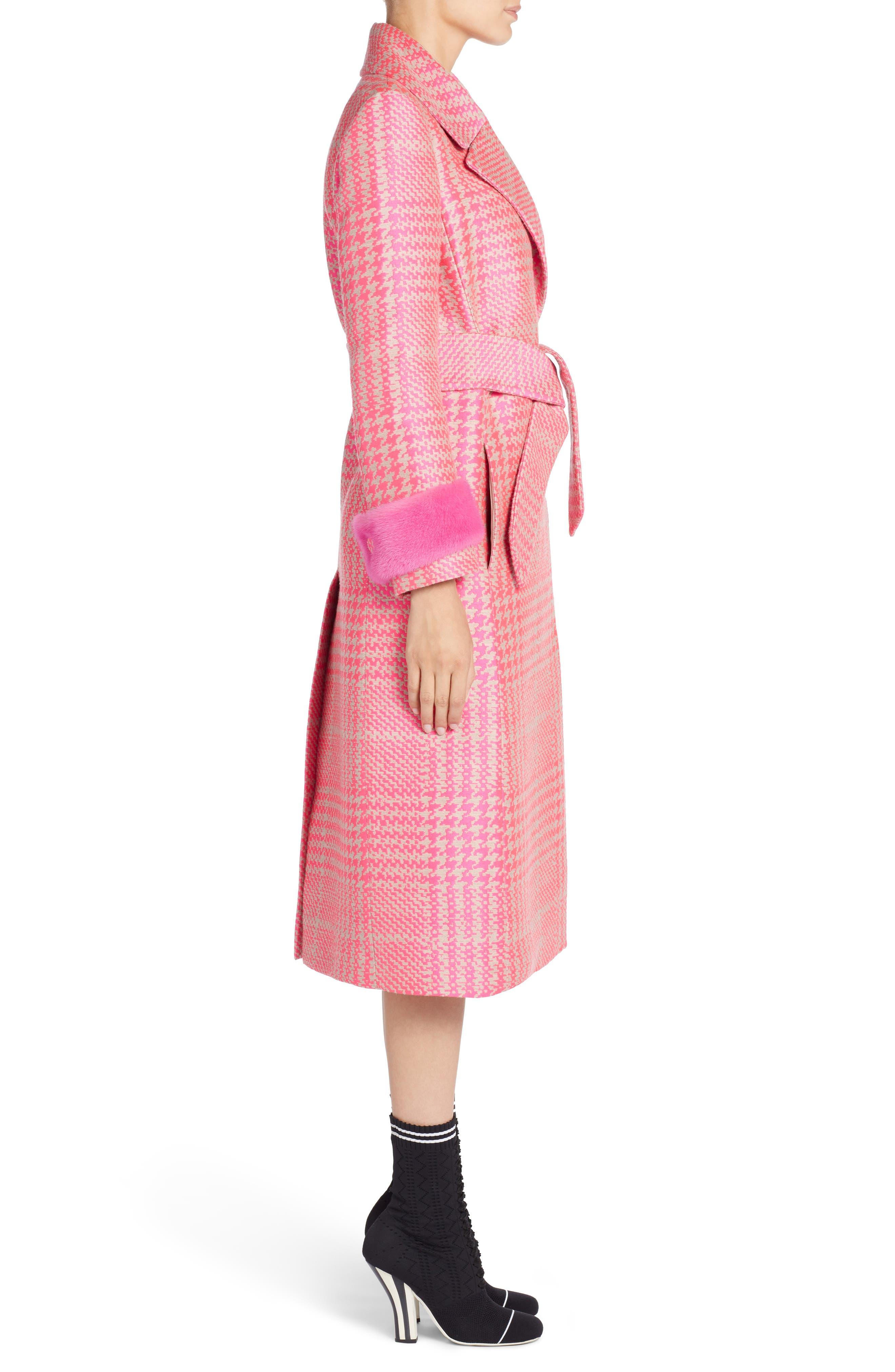 Pop Genuine Mink Fur Trim Prince of Wales Check Coat,                             Alternate thumbnail 3, color,                             Glamour Pink