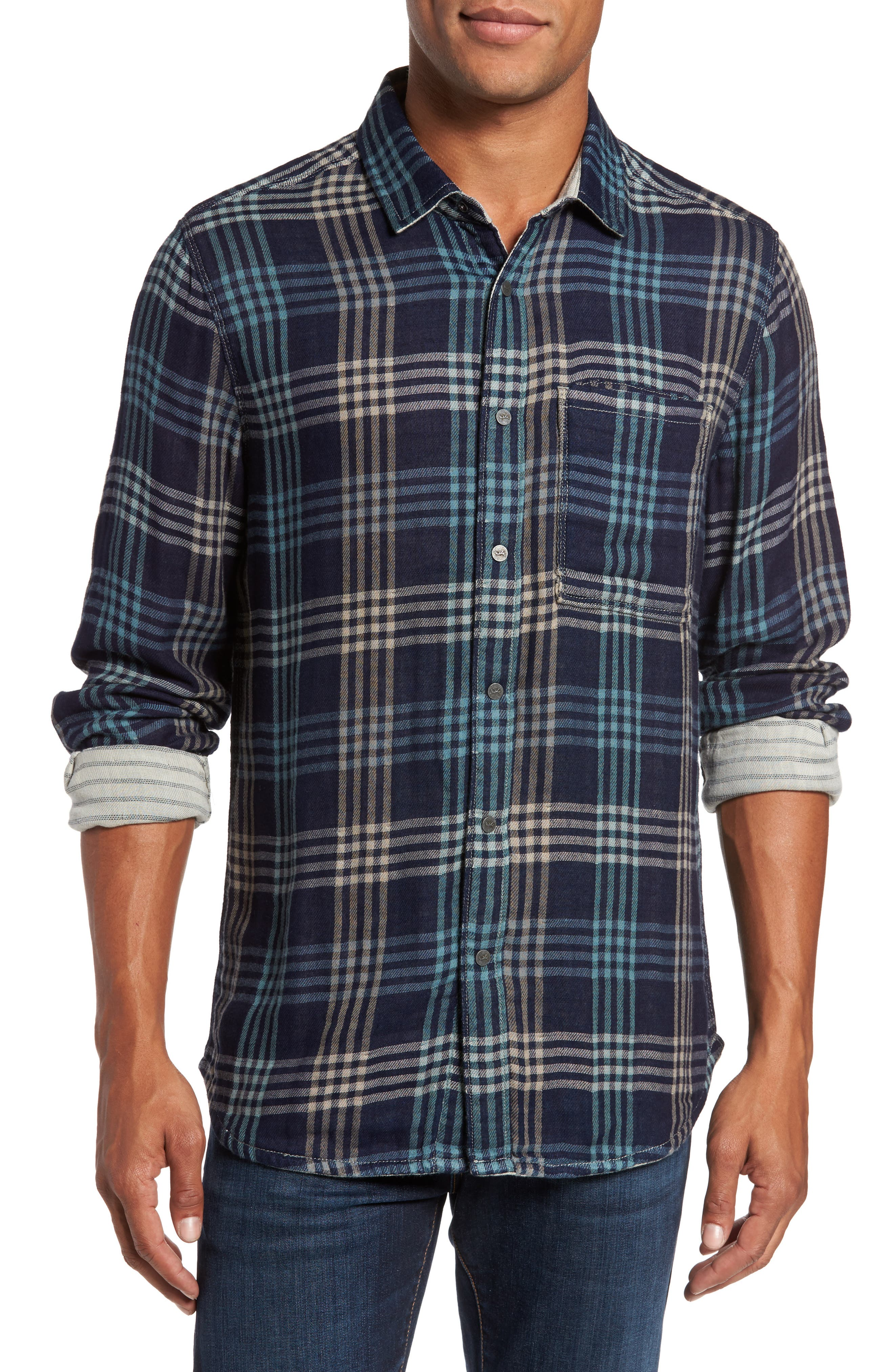 Cypress Reversible Twill Shirt,                             Main thumbnail 1, color,                             Inkwell