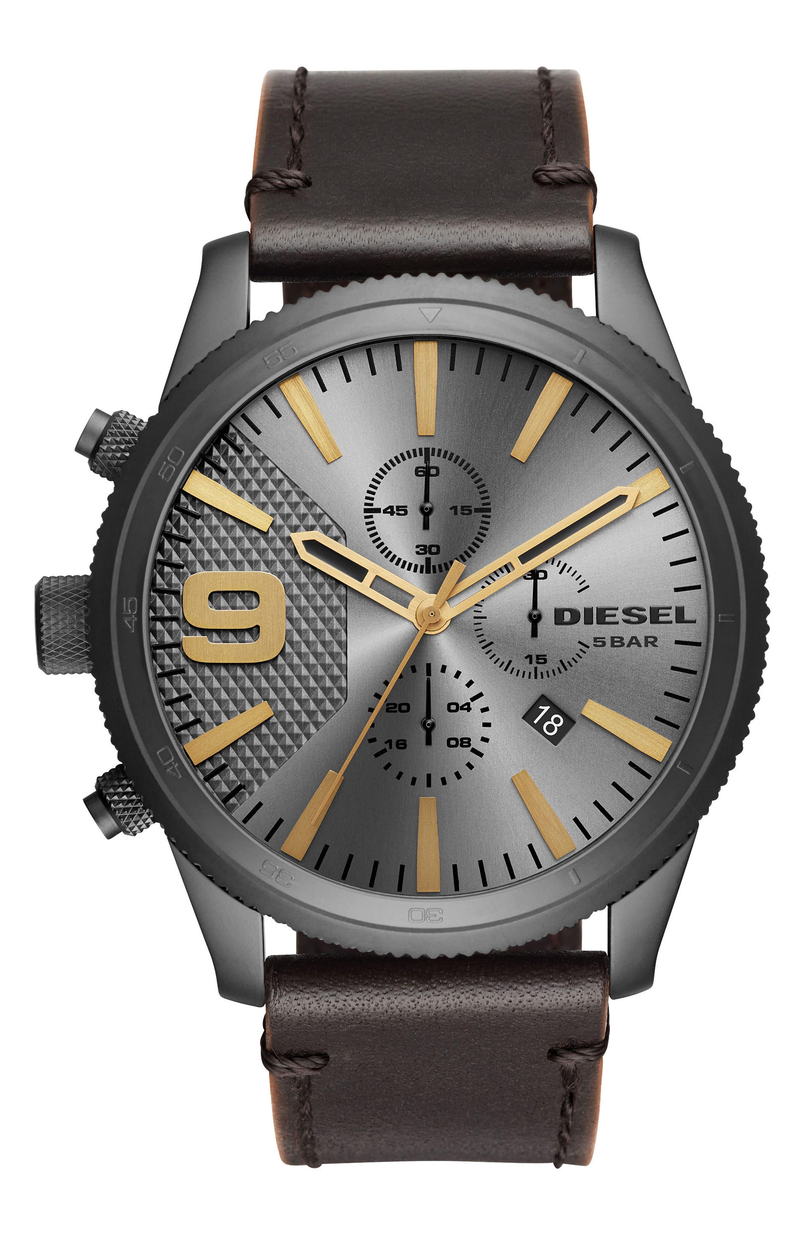 DIESEL® Rasp Chronograph Leather Strap Watch, 50mm x 59mm