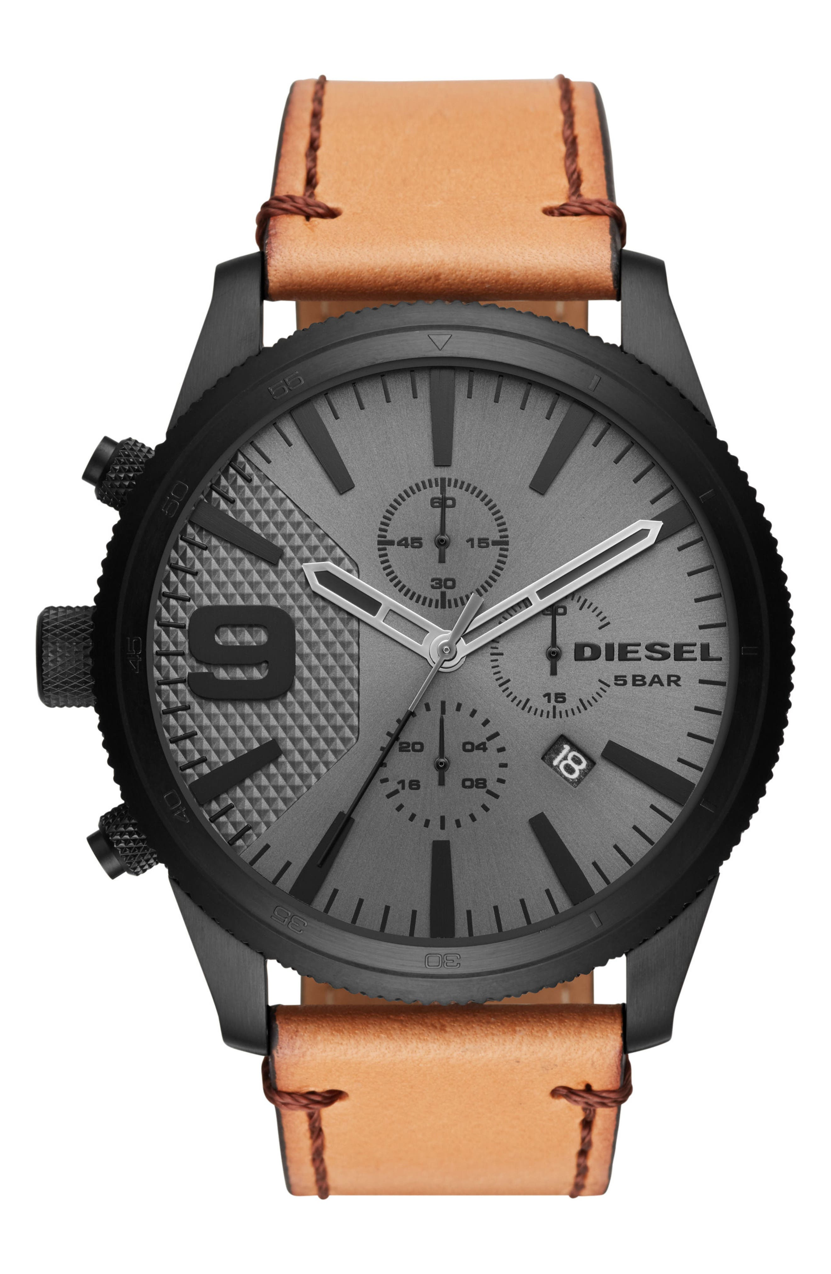 Rasp Chronograph Leather Strap Watch, 50mm x 59mm,                         Main,                         color, Ip Black