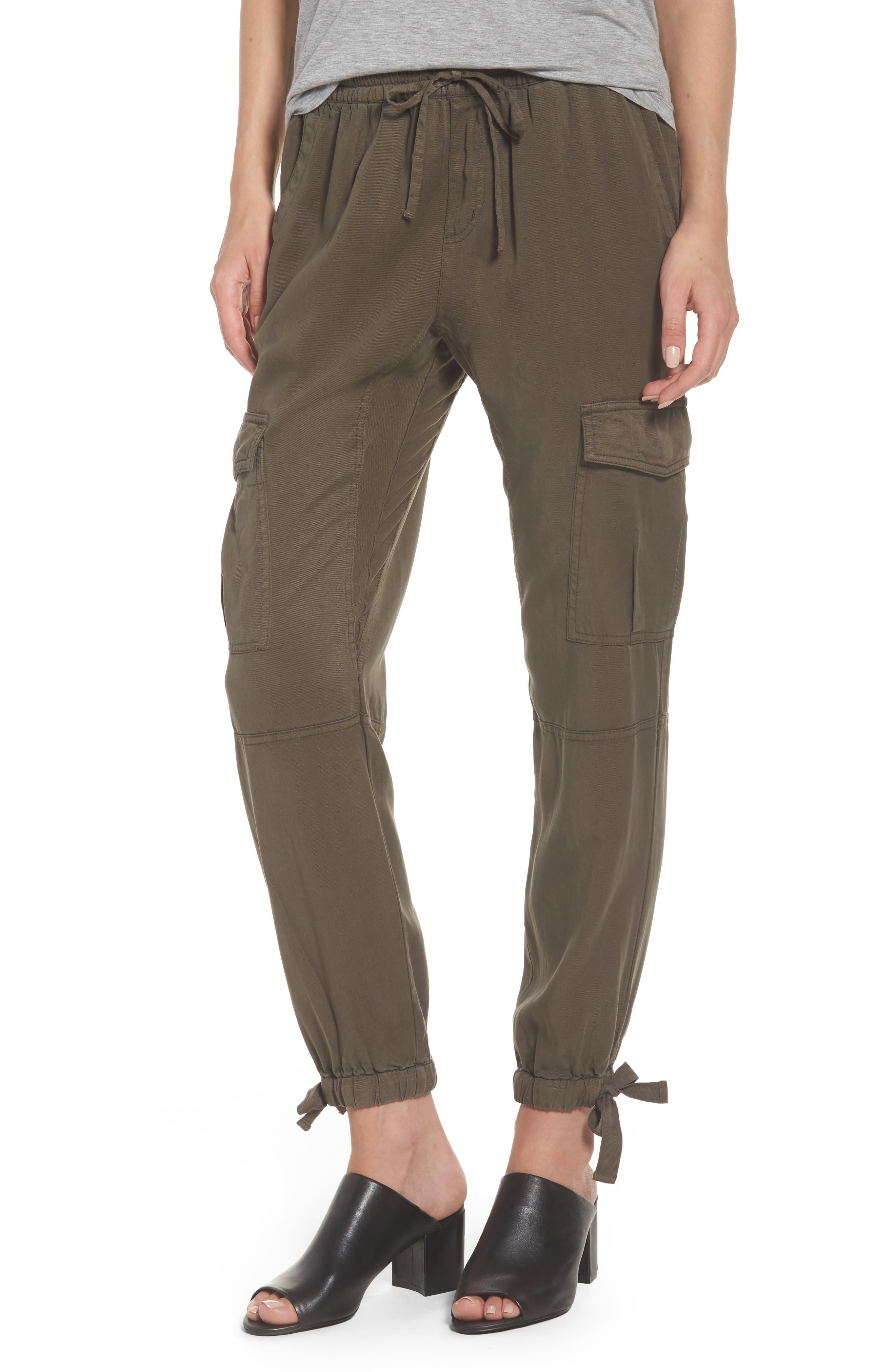 Ankle Tie Tencel Pants,                         Main,                         color, Loden