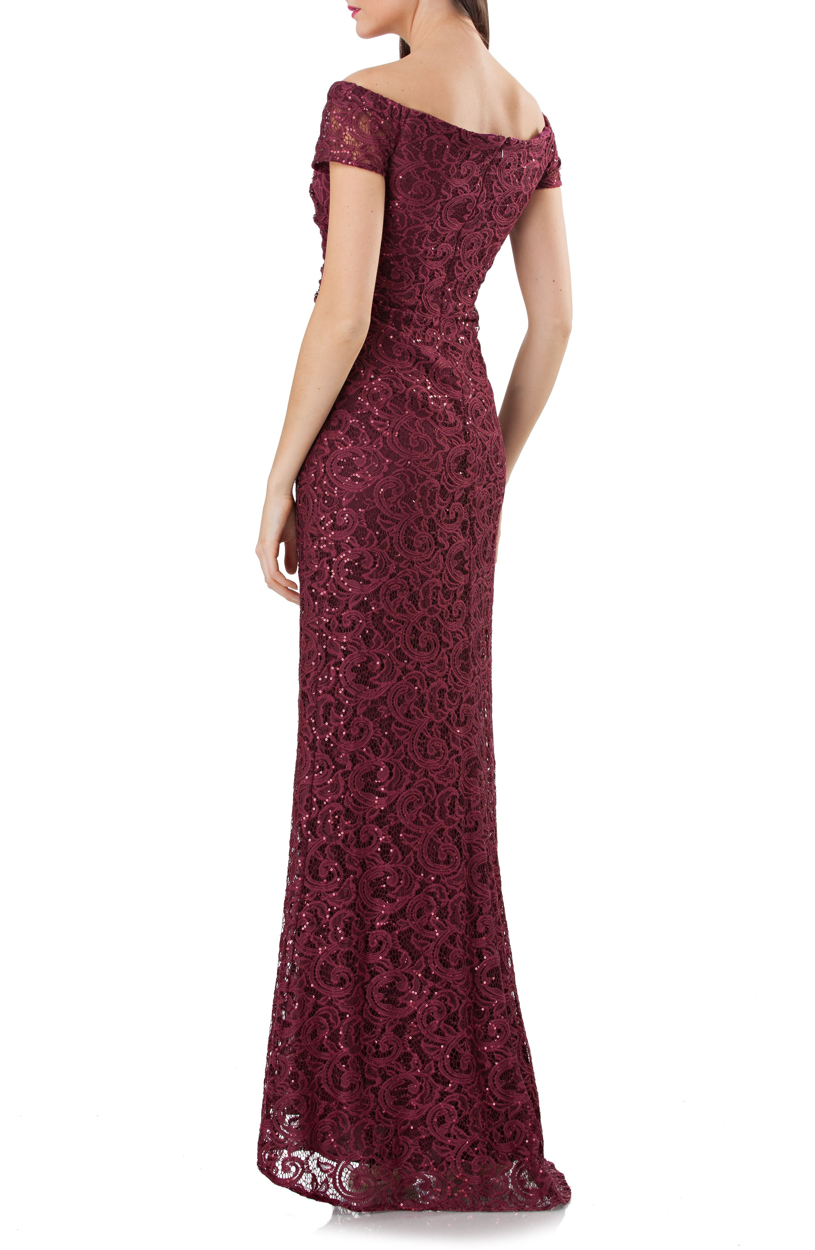 Sequin Lace Off the Shoulder Mermaid Gown,                             Alternate thumbnail 2, color,                             Burgundy