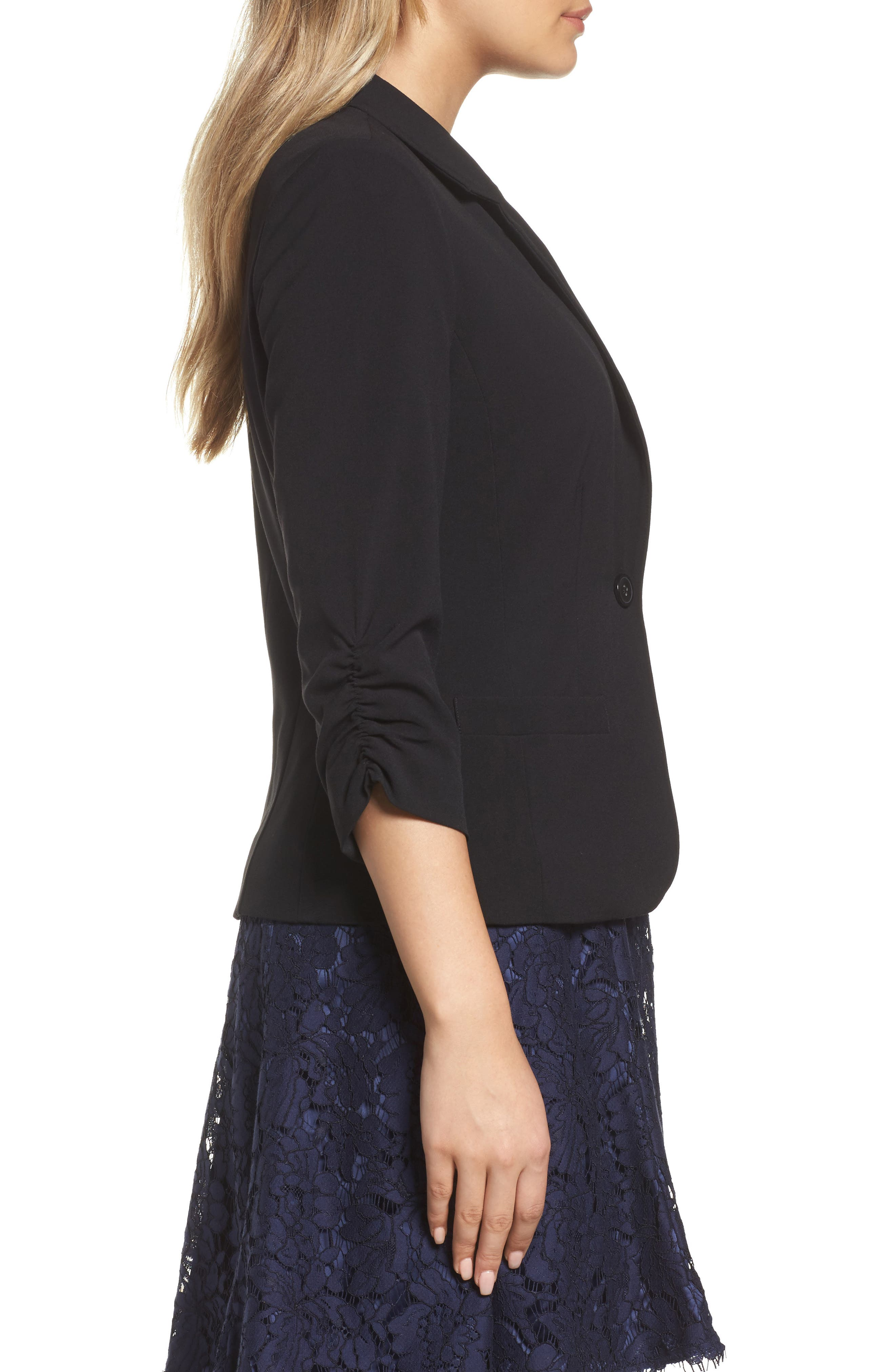 Ruched Sleeve Blazer,                             Alternate thumbnail 3, color,                             Black