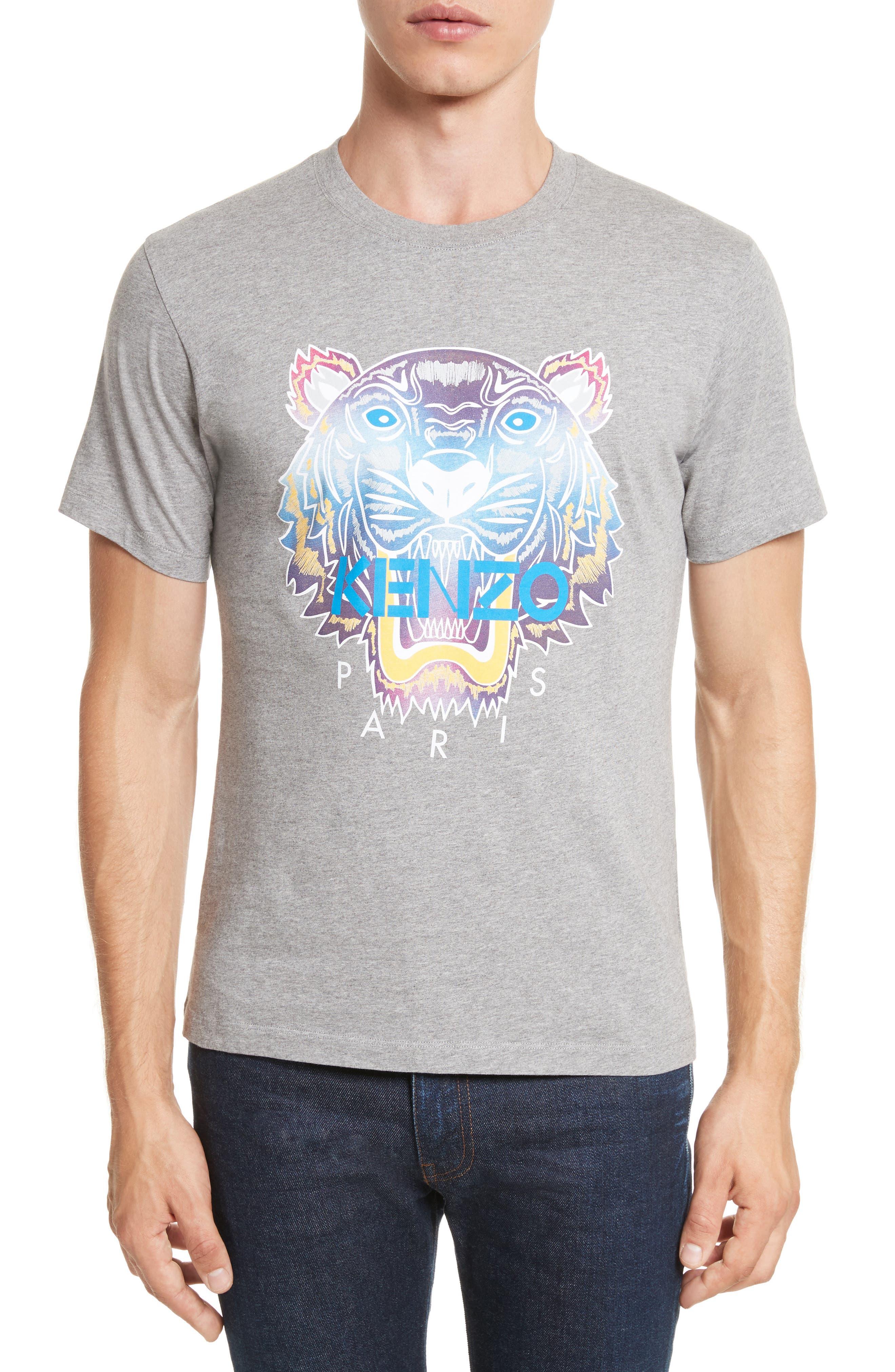 Rainbow Tiger Graphic T-Shirt,                         Main,                         color, Light Grey