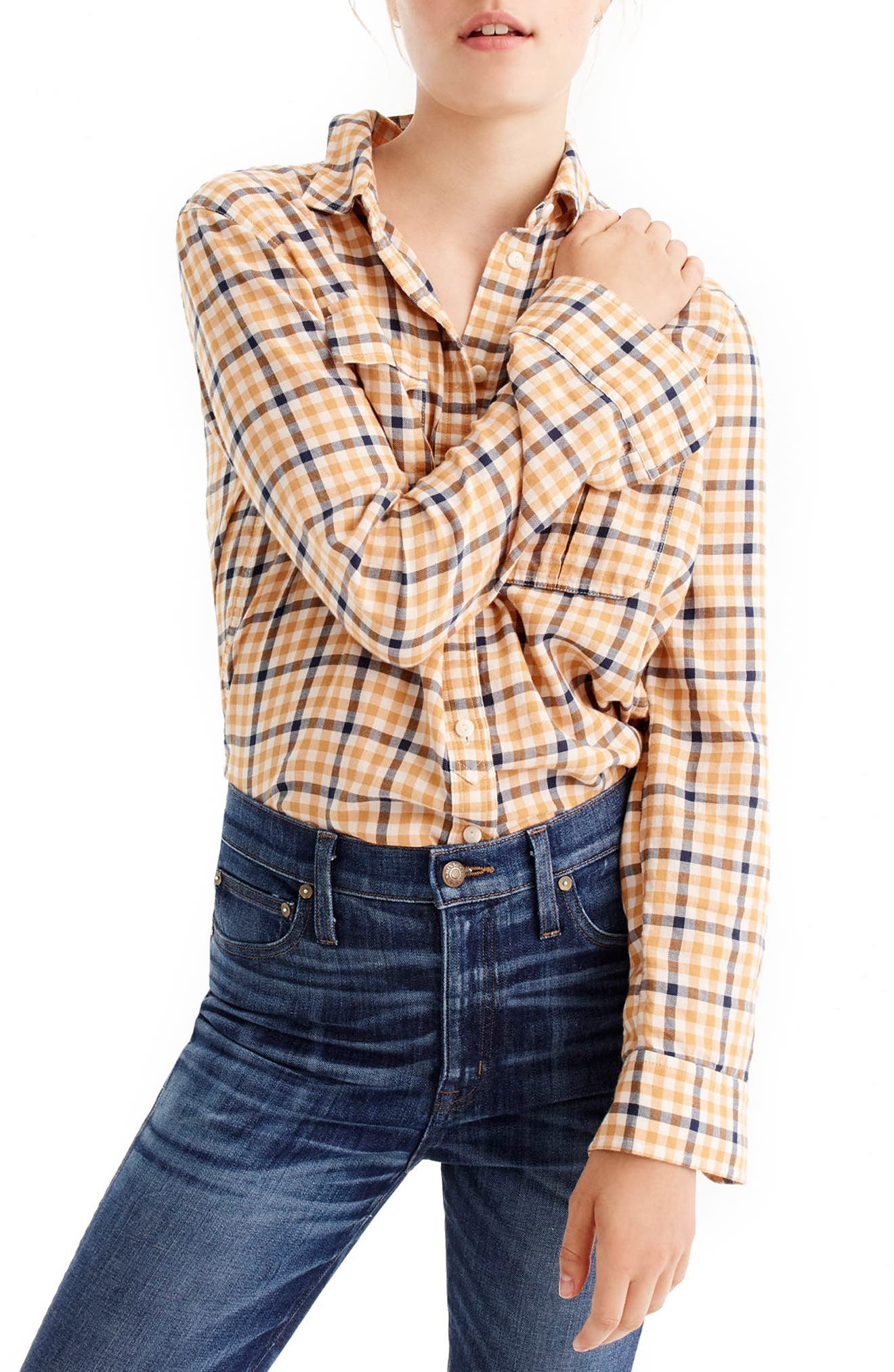 Main Image - J.Crew Topaz Plaid Boyfriend Shirt (Regular & Petite)