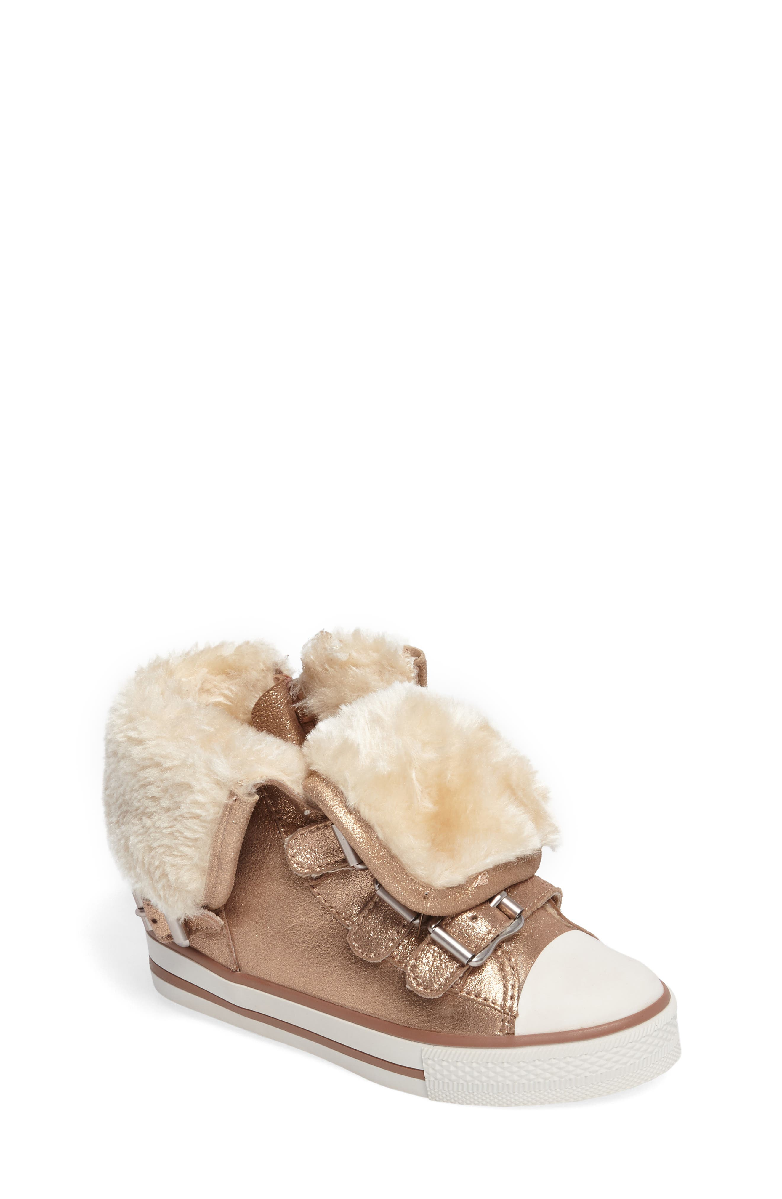 Vava Faux Fur Glitter Sneaker,                             Main thumbnail 1, color,                             Rose Gold Suede