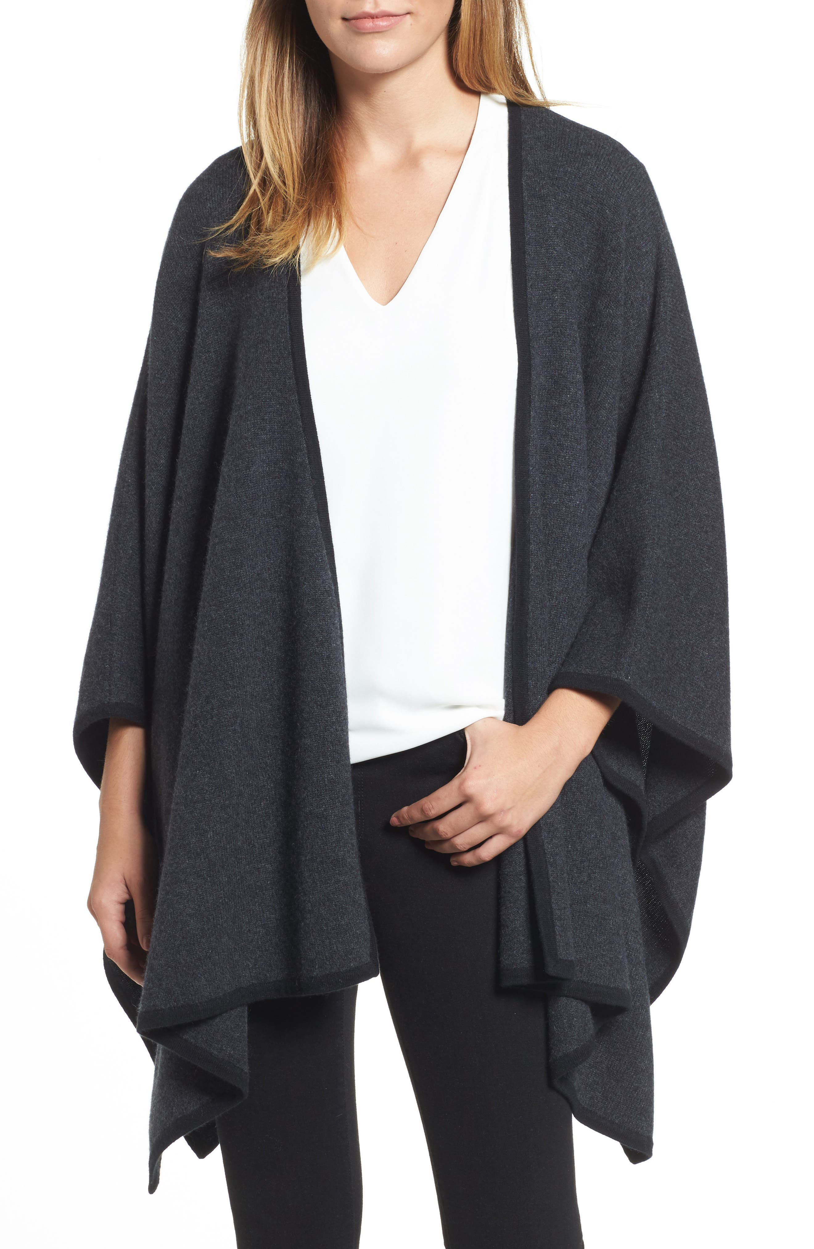 Cashmere Cape,                         Main,                         color, Grey Dark Charcoal Heather