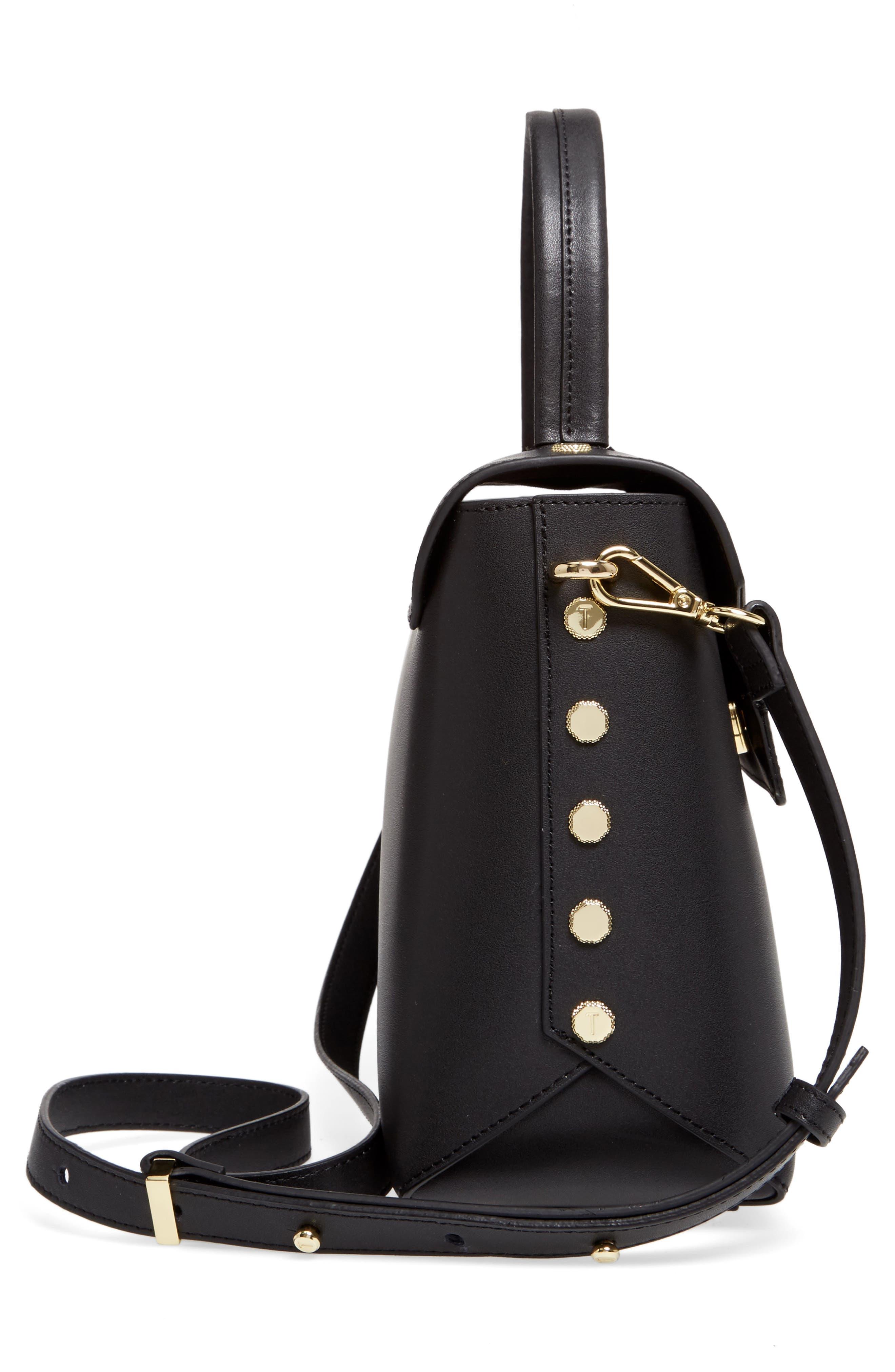 Taymar - Studded Edge Lady Bag Leather Top Handle Satchel,                             Alternate thumbnail 4, color,                             Black