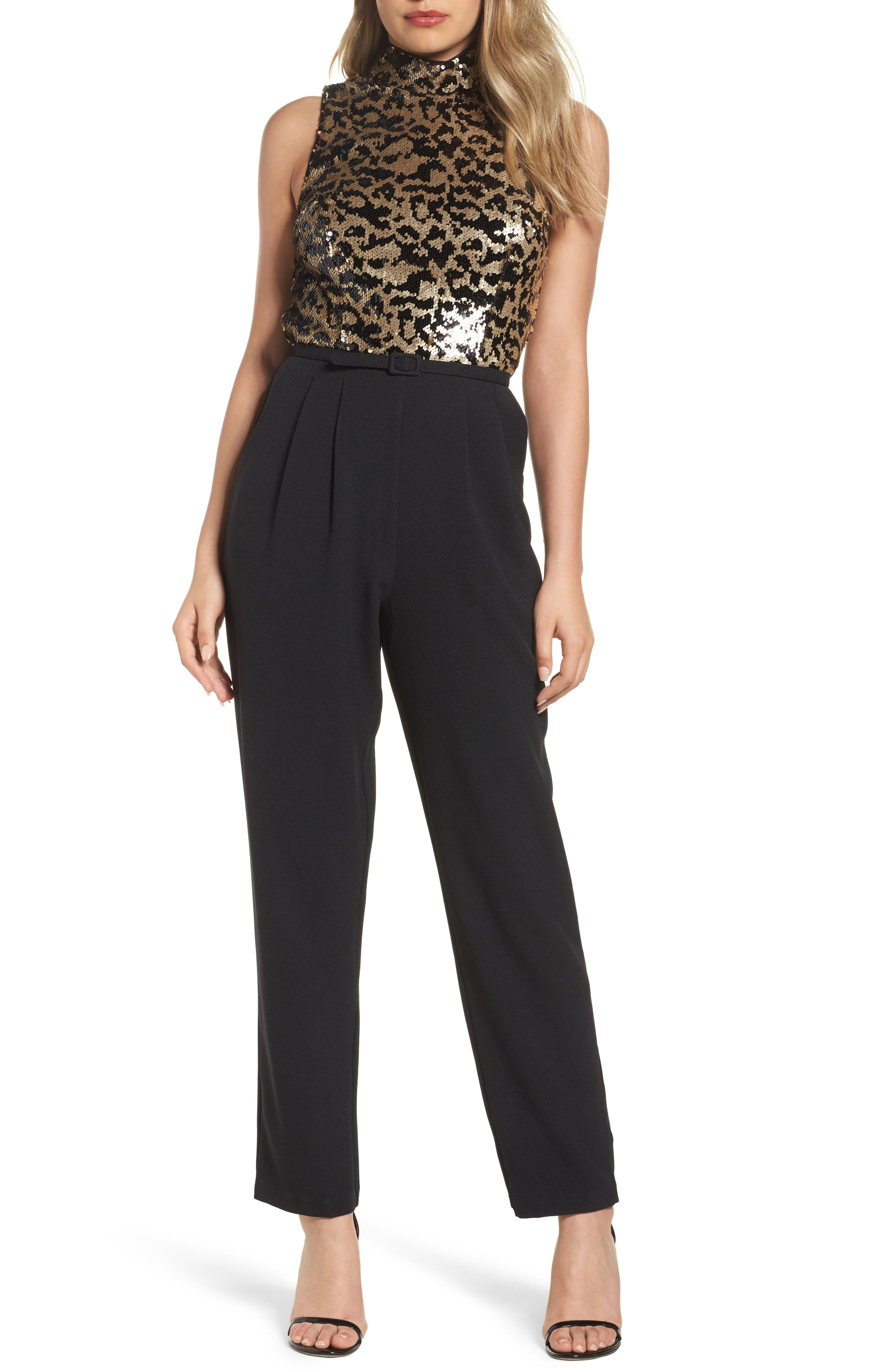 Vince Camuto Sequin Leopard Bodice Belted Jumpsuit