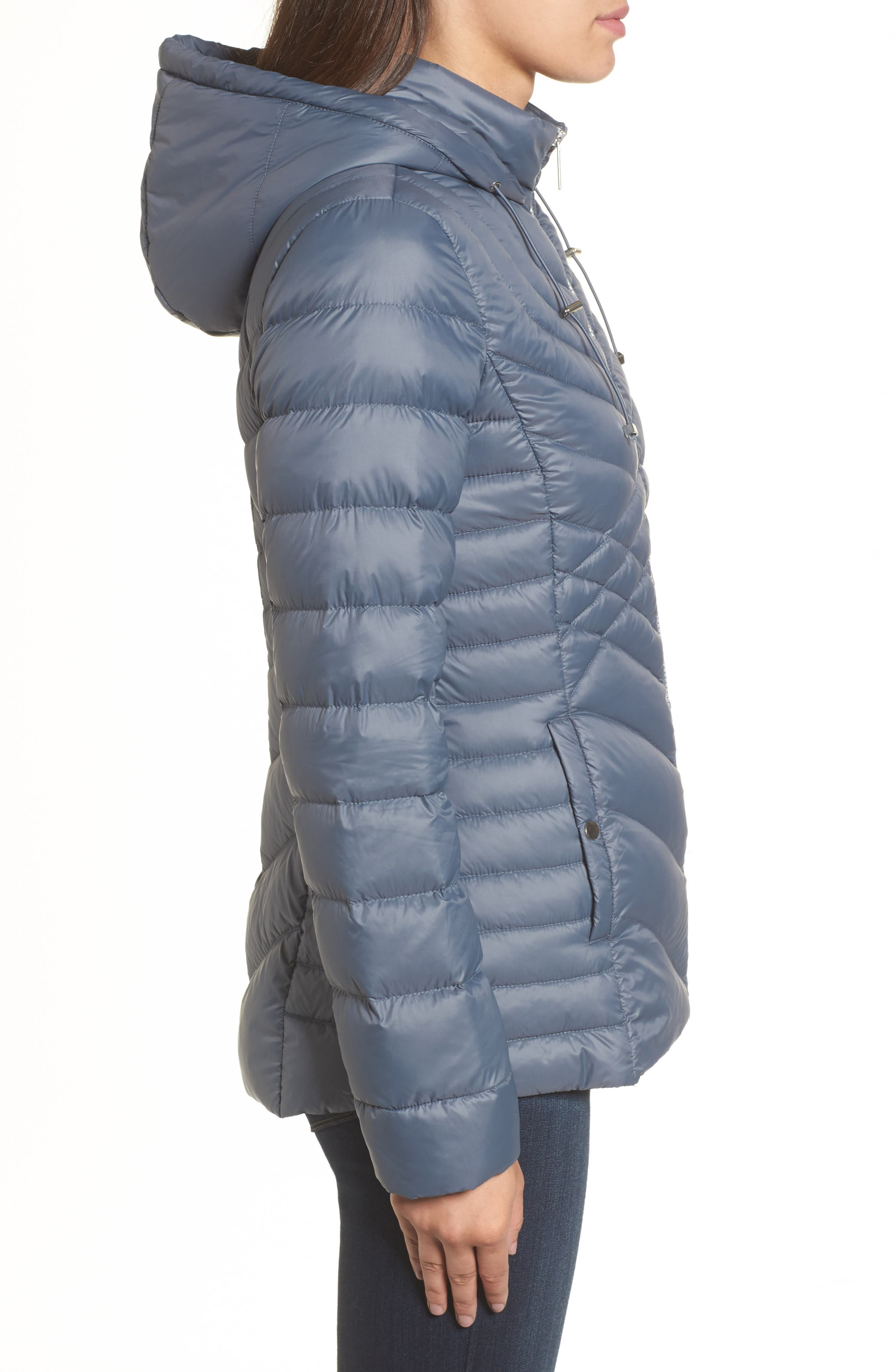 Hooded Down Blend Puffer Jacket,                             Alternate thumbnail 3, color,                             Ice Blue