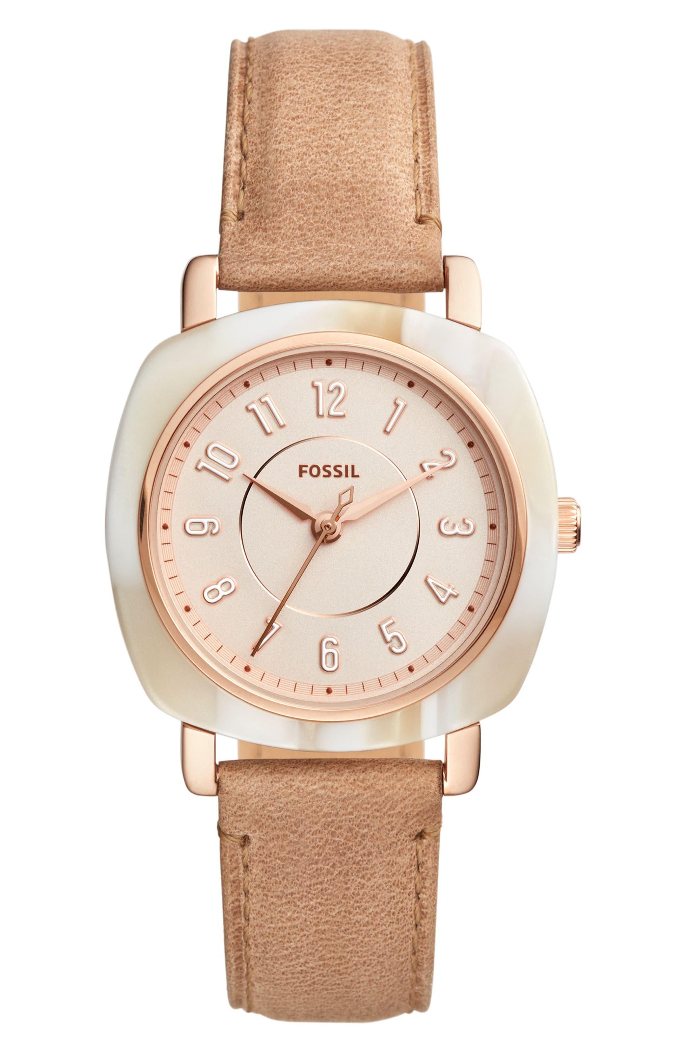 Idealist Slim Leather Strap Watch, 36mm x 36mm,                         Main,                         color, Beige/ Rose Gold/ Gold
