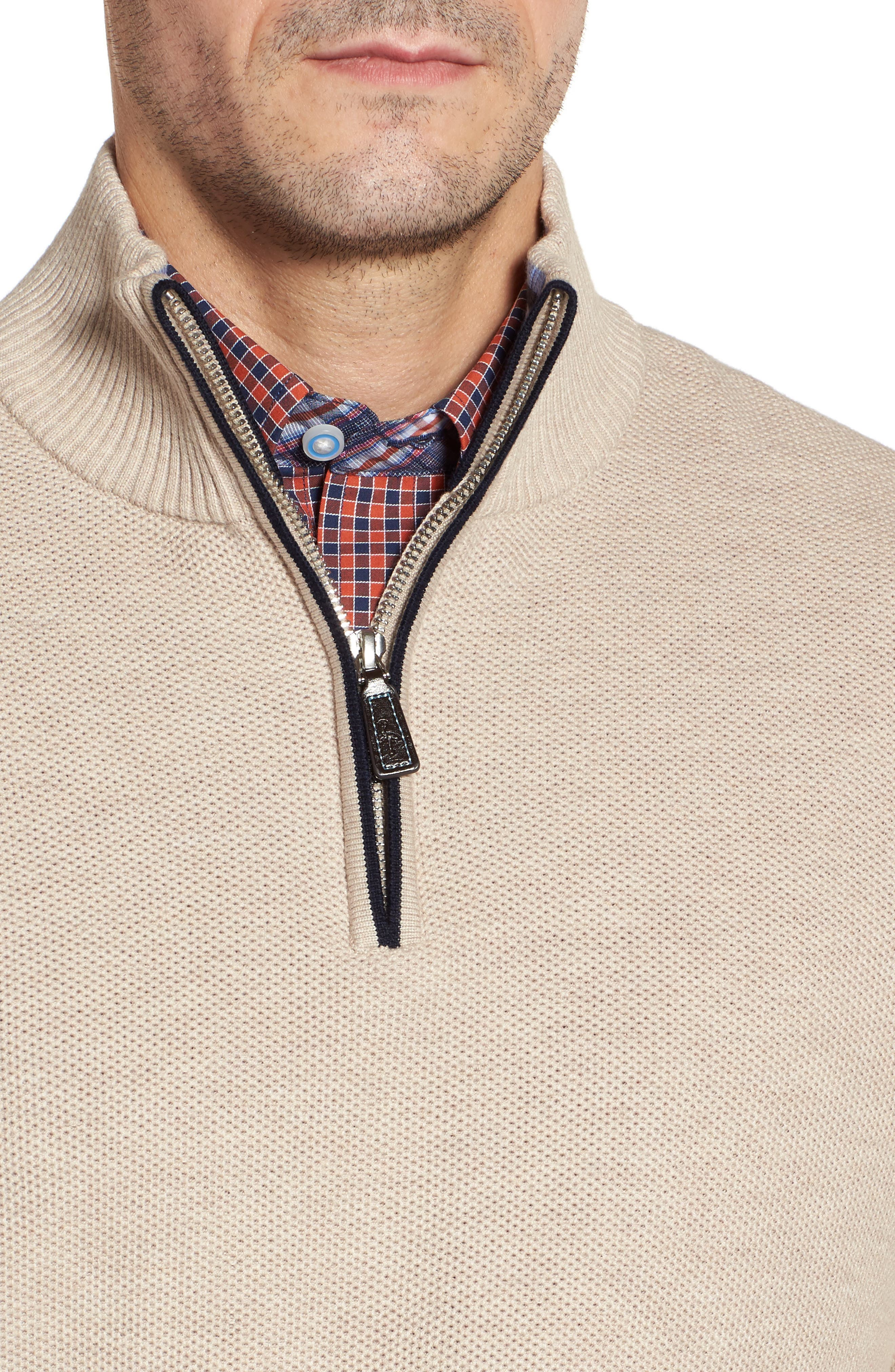 Alternate Image 4  - TailorByrd Sikes Tipped Quarter Zip Sweater