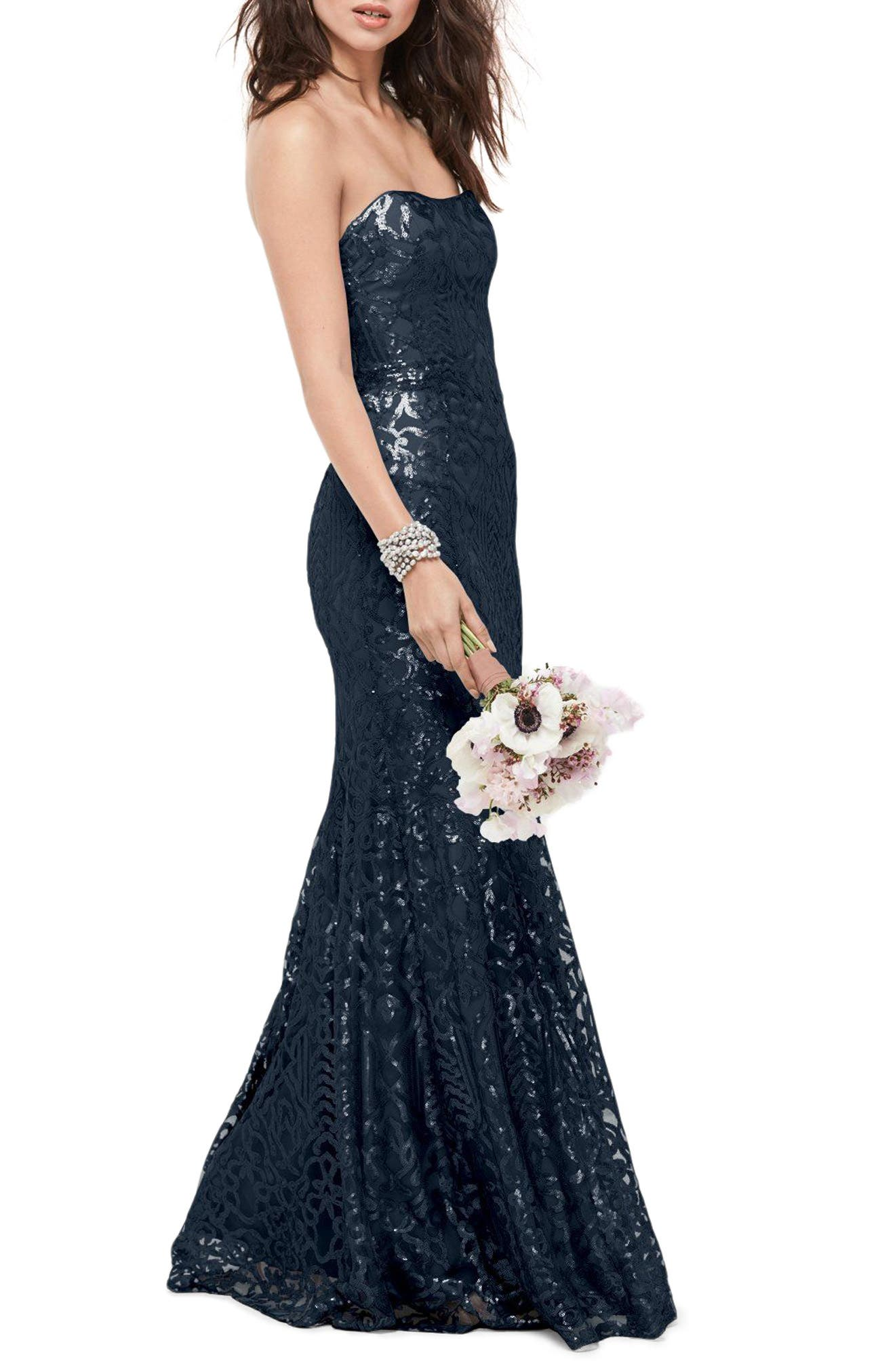 Talisa Sequin Mesh Strapless Gown,                         Main,                         color, Navy Blue