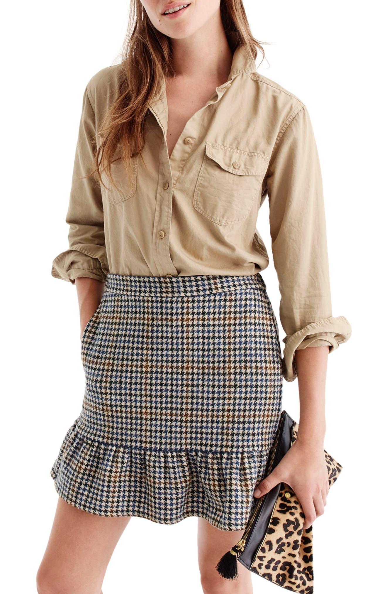 Main Image - J.Crew Ruffle Houndstooth Miniskirt