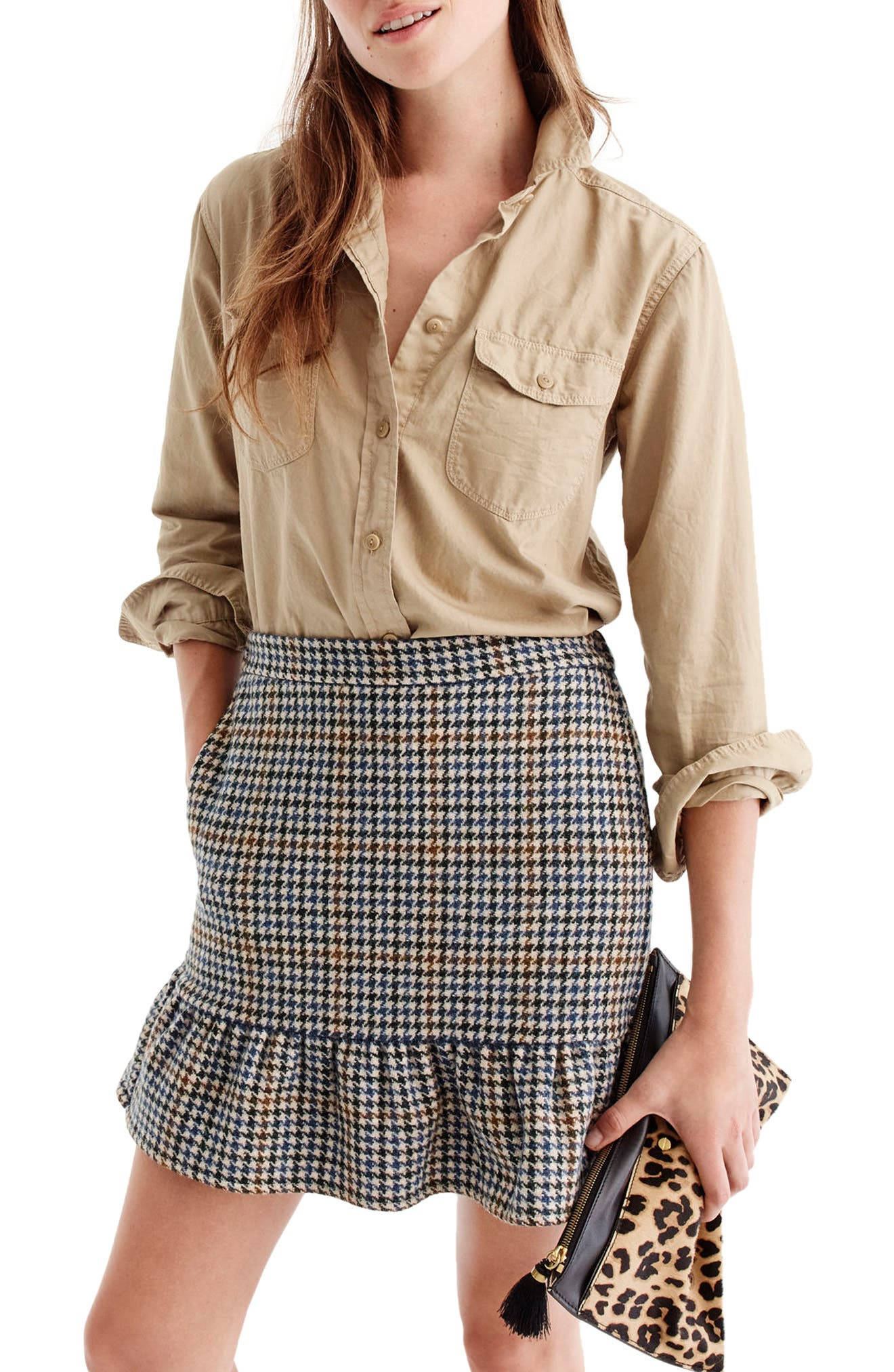 J.Crew Ruffle Houndstooth Miniskirt,                         Main,                         color, Navy/ Brown/ Cream