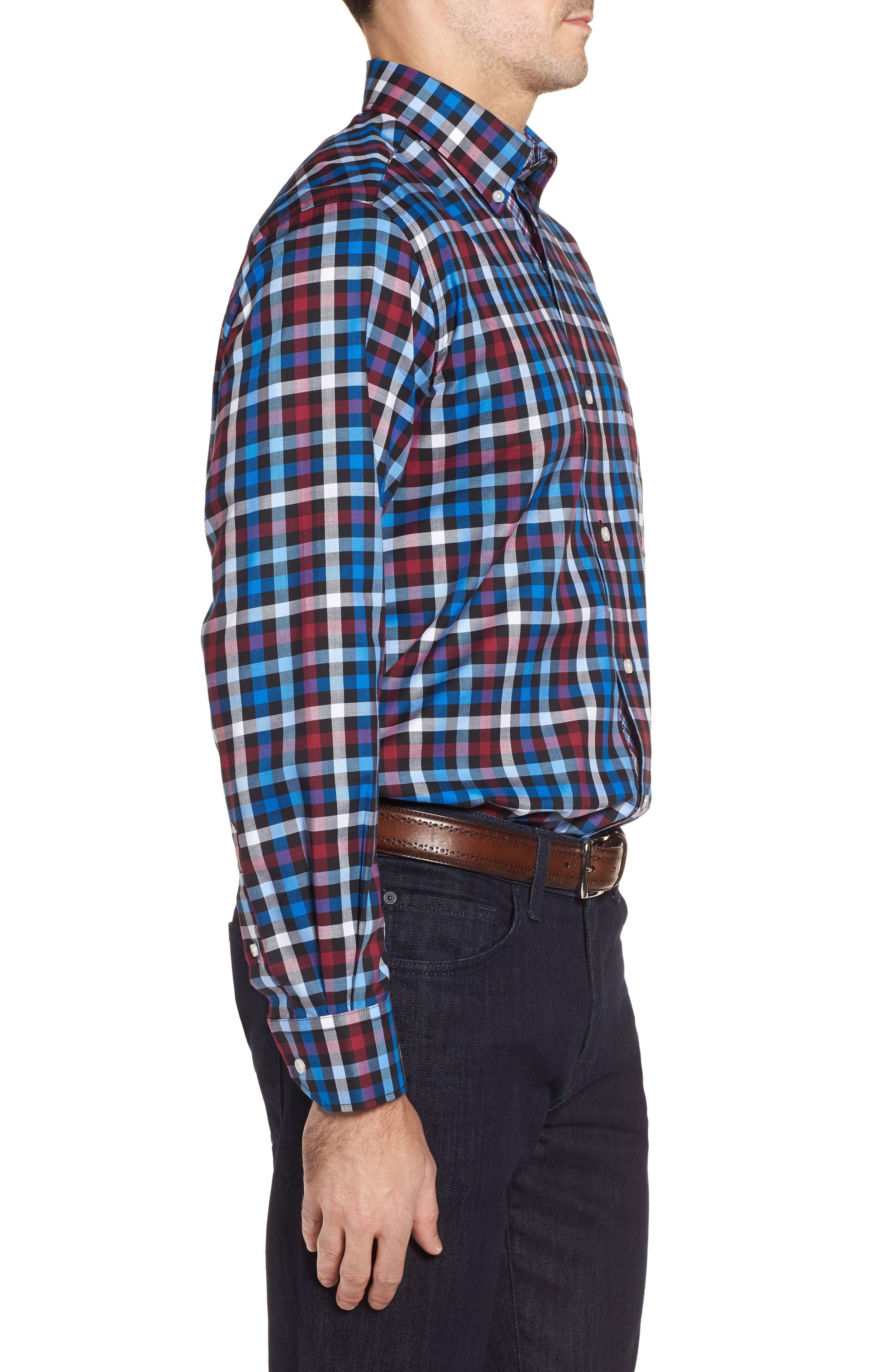 Brusly Regular Fit Gingham Sport Shirt,                             Alternate thumbnail 3, color,                             Black