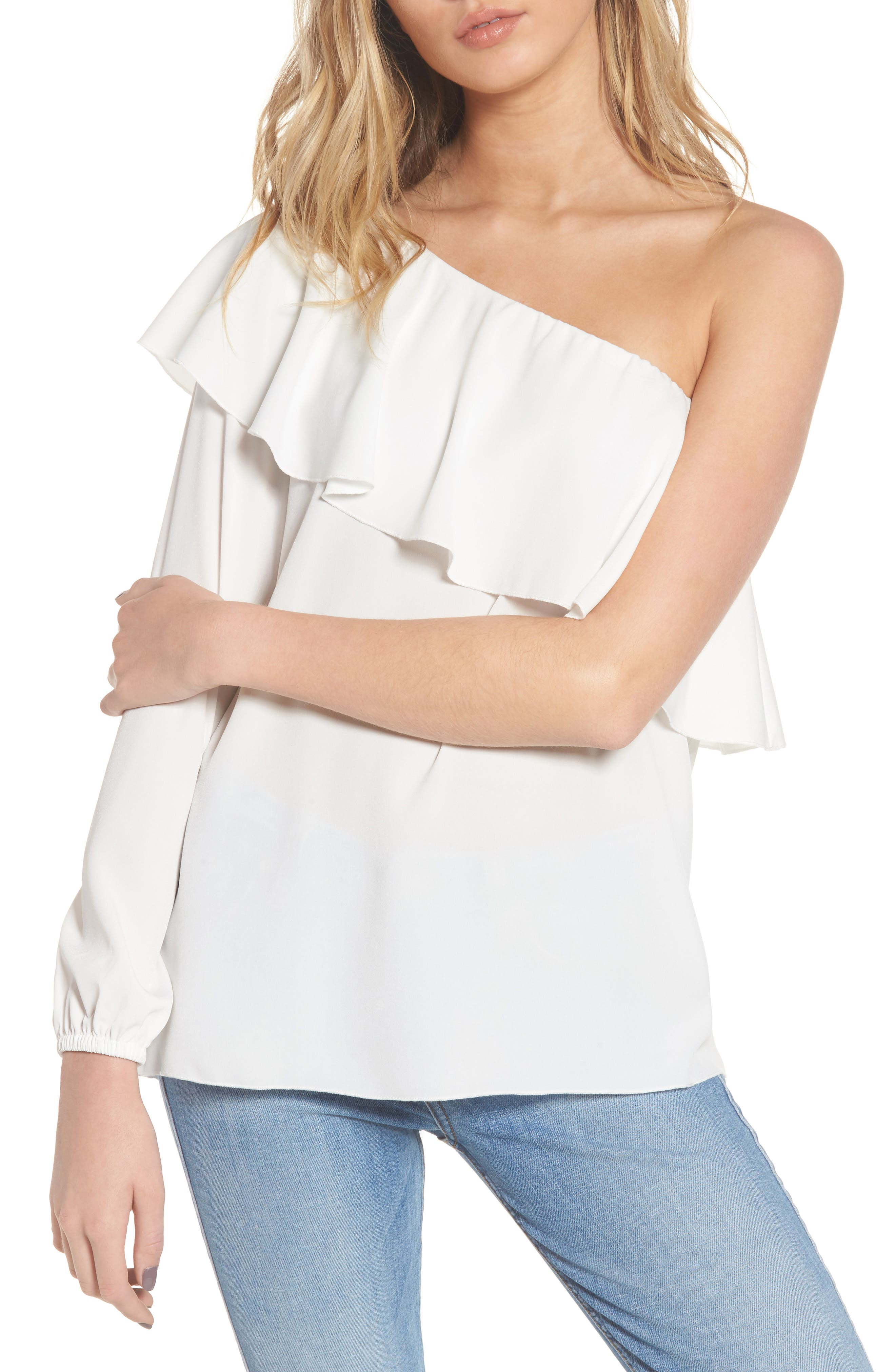 7 For All Mankind® One-Shoulder Ruffle Blouse