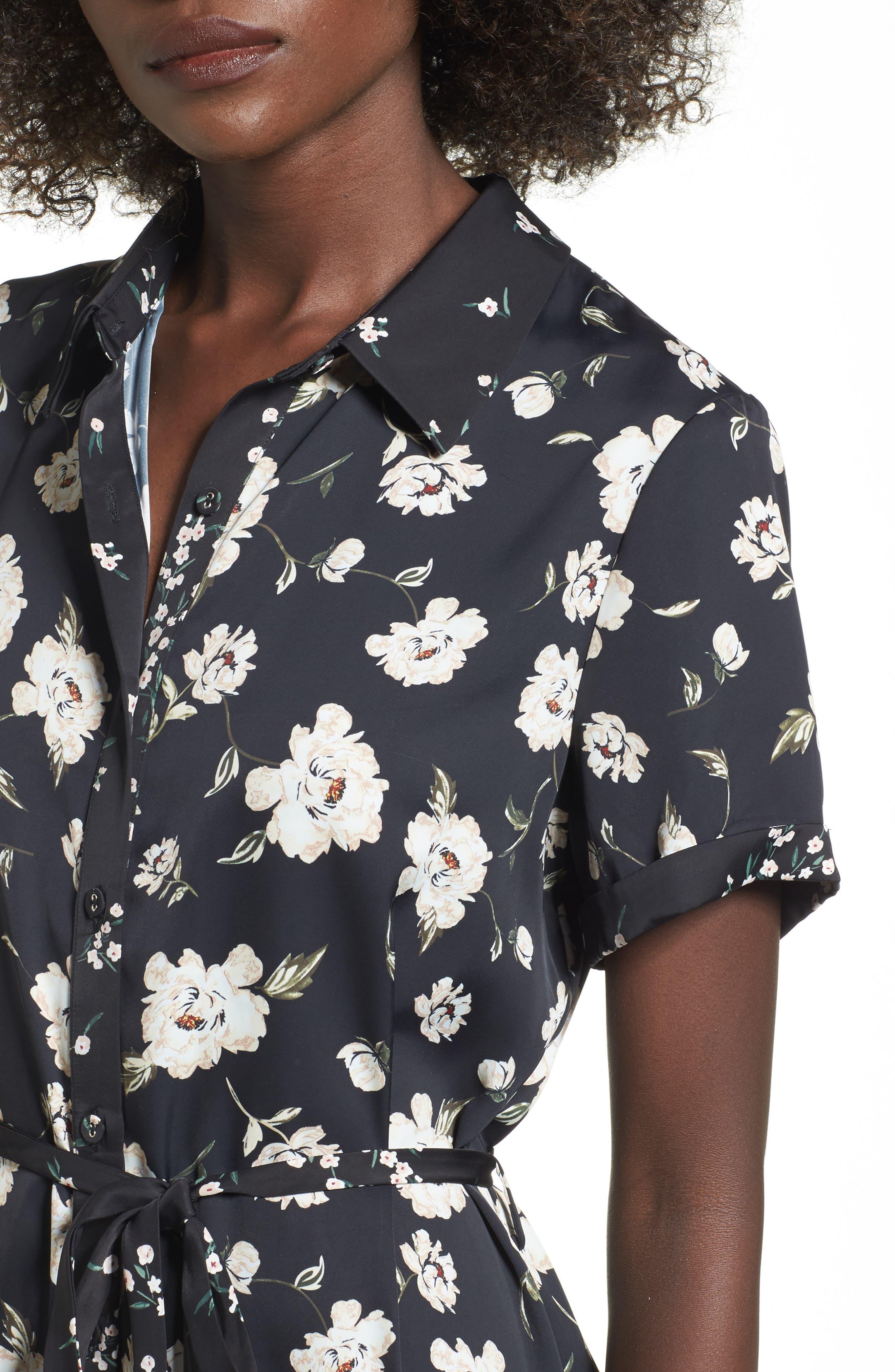 L'Academie The Shirt Dress Midi Dress,                             Alternate thumbnail 4, color,                             Romantic Floral