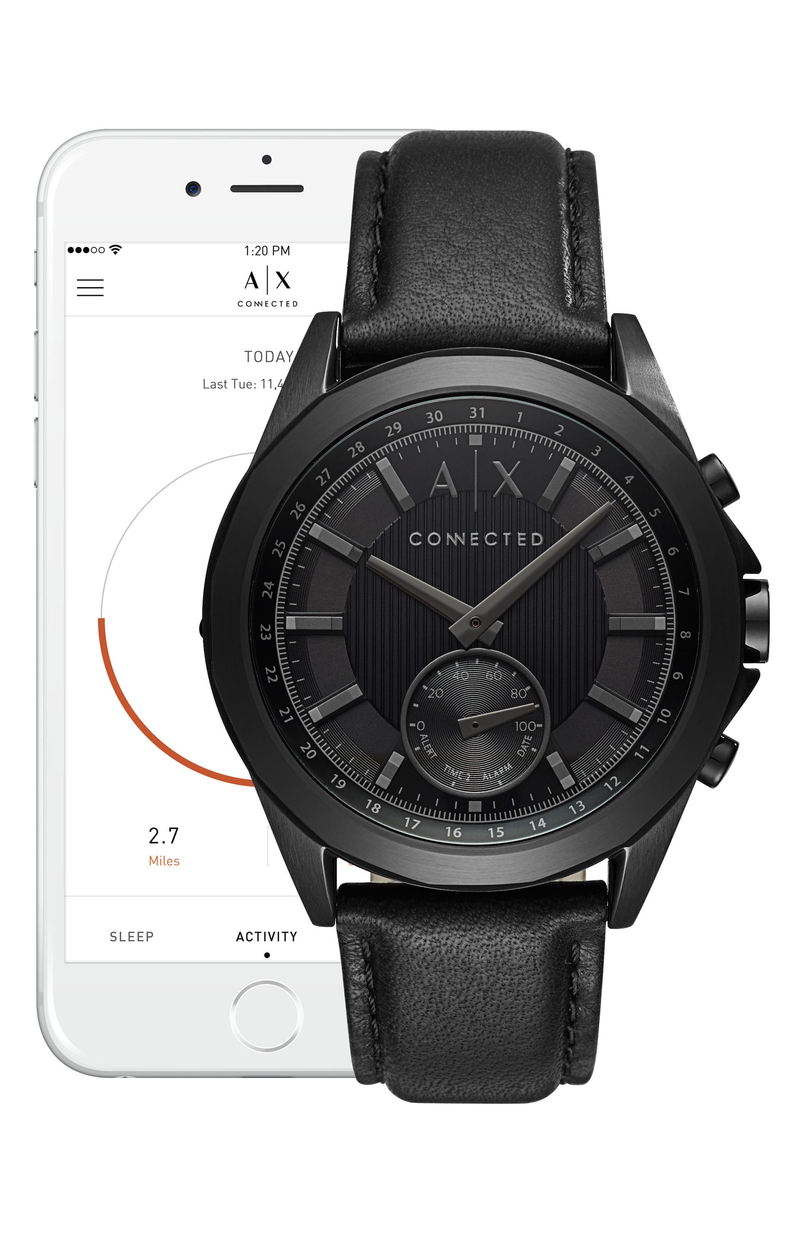 Connected Leather Strap Hybrid Smartwatch, 44mm,                             Alternate thumbnail 4, color,                             Black/ Black