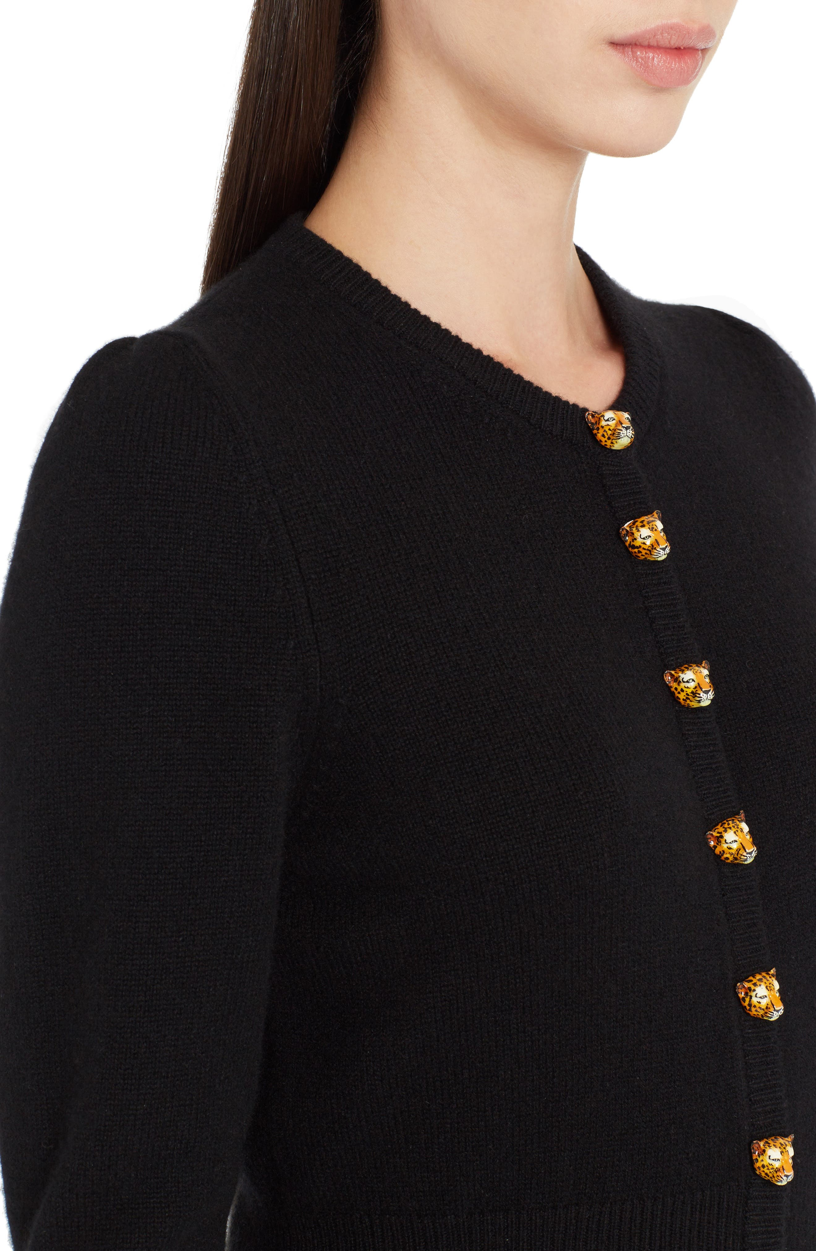 Leo Button Cashmere Cardigan,                             Alternate thumbnail 4, color,                             Black