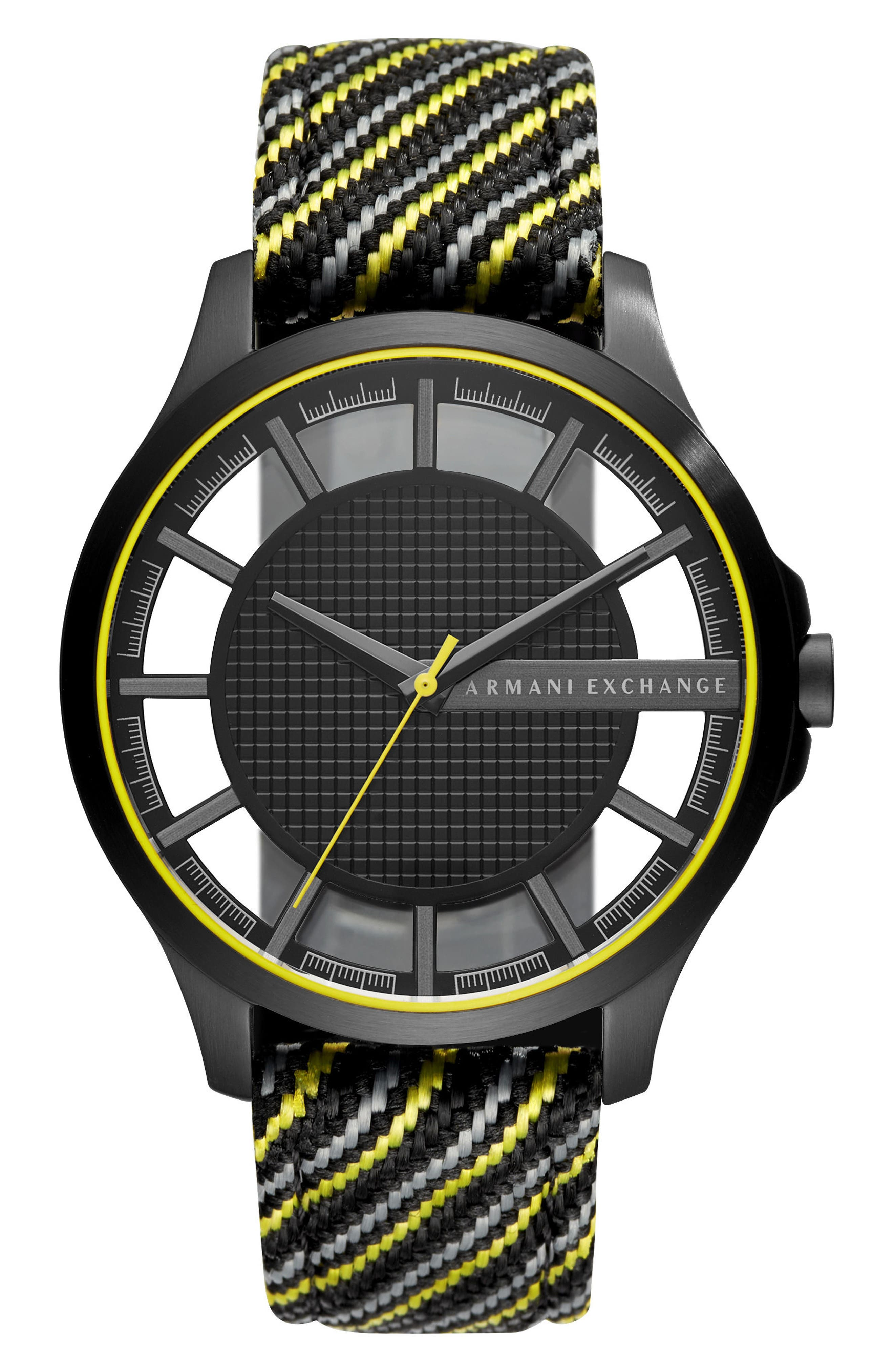 Woven Strap Watch, 45mm,                         Main,                         color, Black/ Yellow/ Charcoal