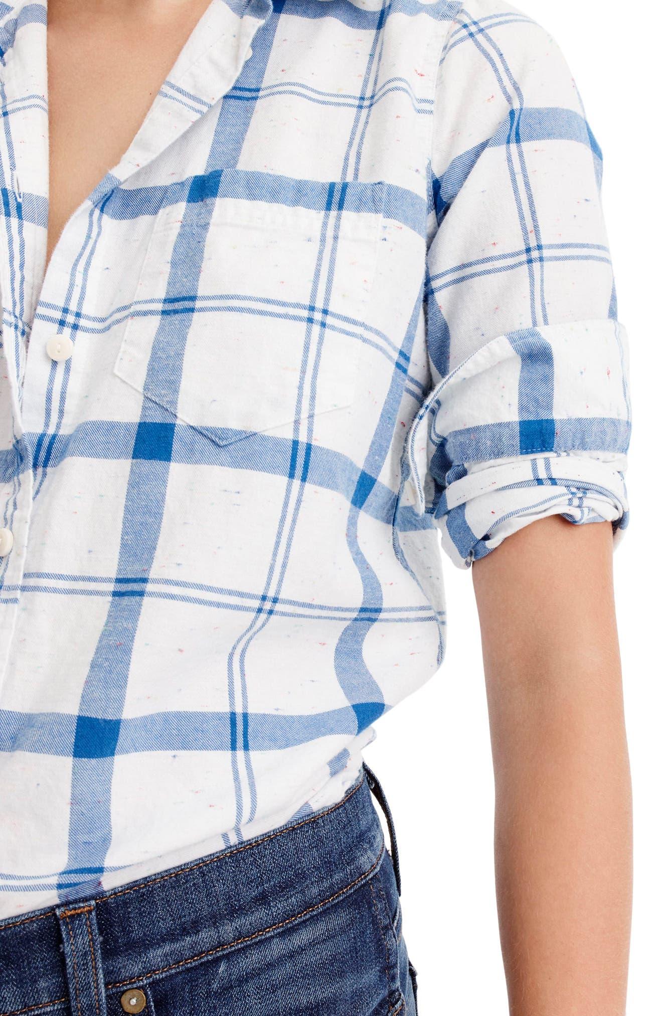 J.Crew Confetti Plaid Boy Shirt,                             Alternate thumbnail 3, color,                             White Blue