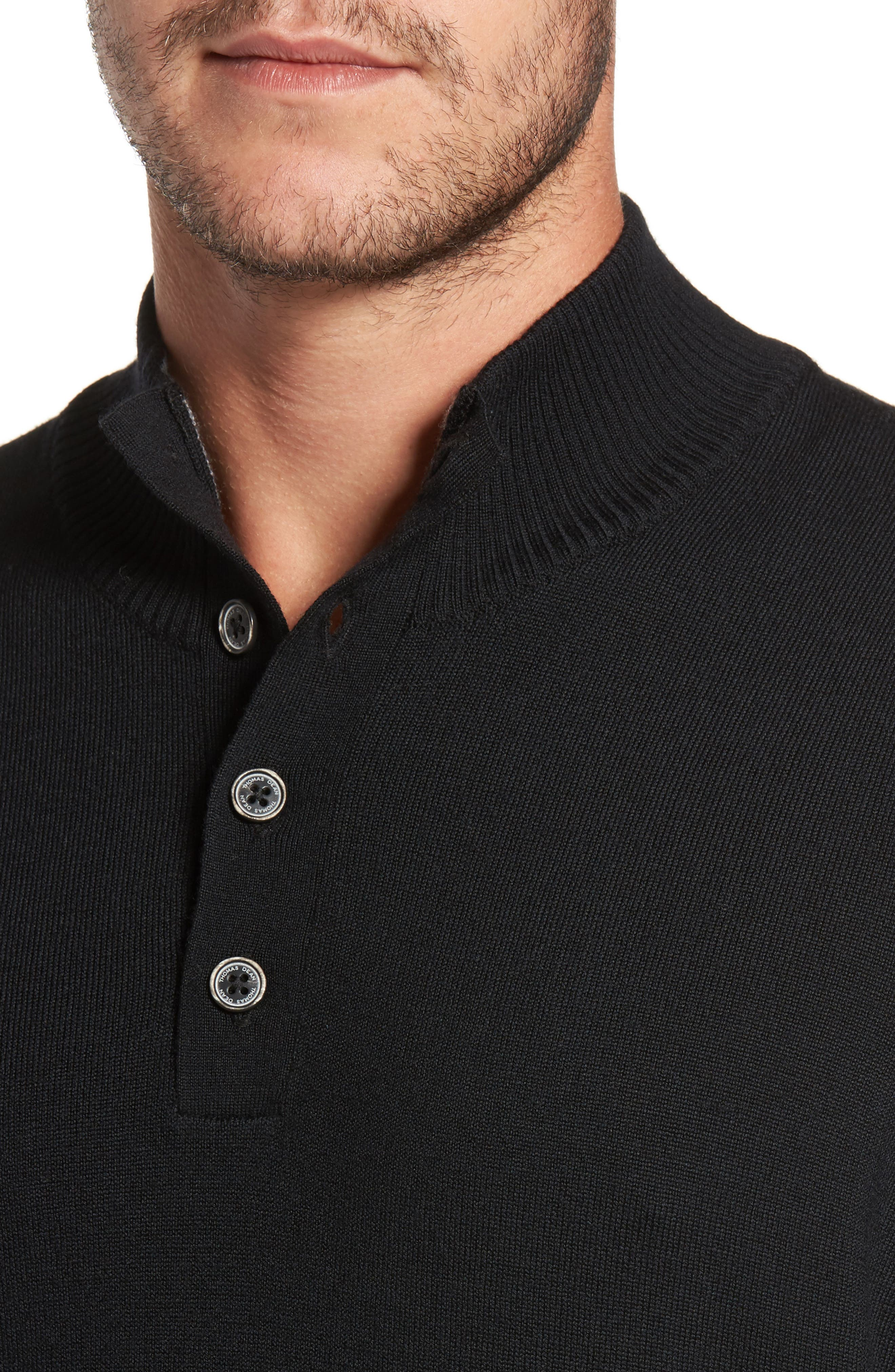 Alternate Image 4  - Thomas Dean Merino Wool Blend Mock Neck Sweater