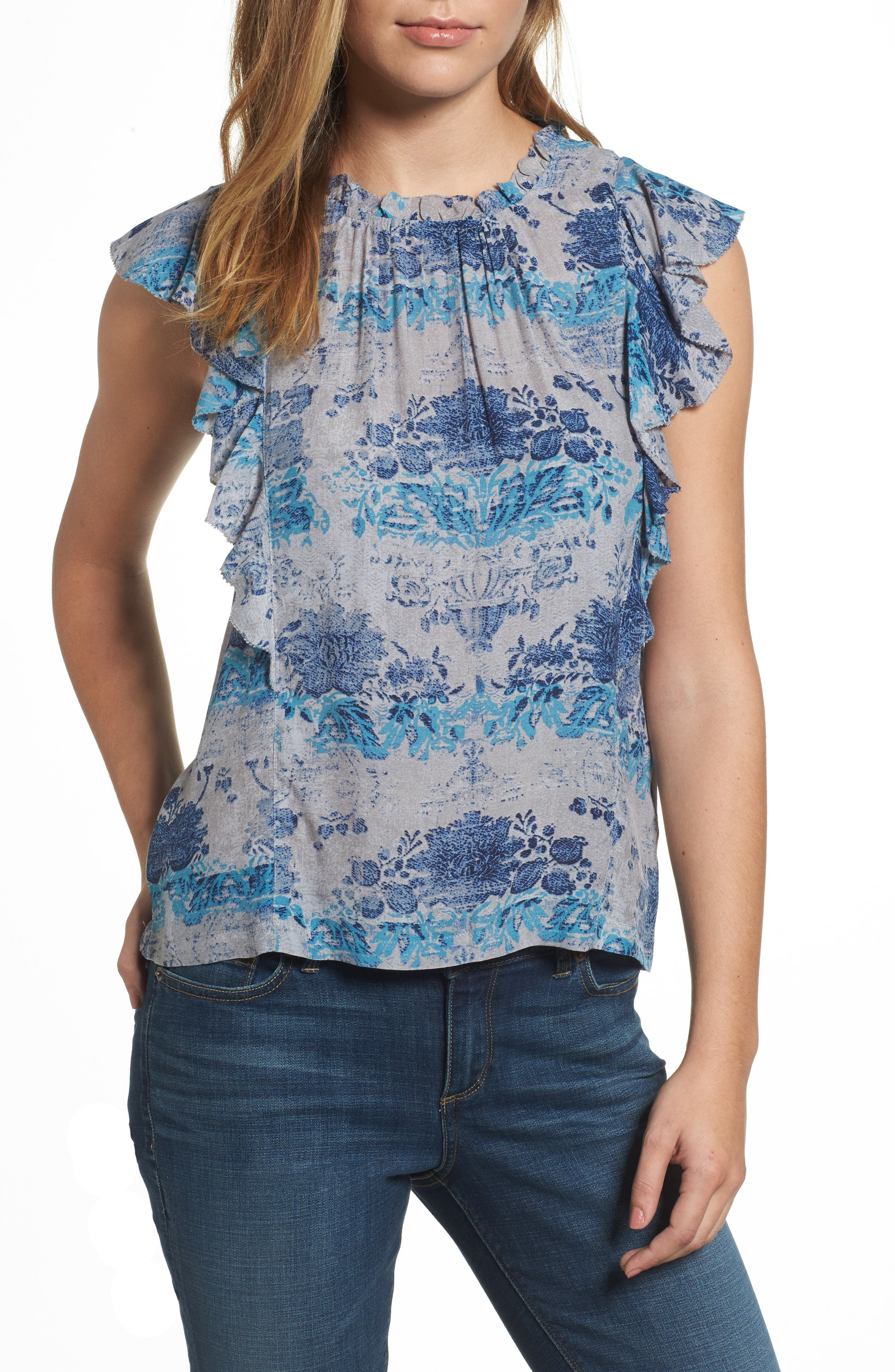 Alternate Image 1 Selected - Lucky Brand Ruffle Print Top
