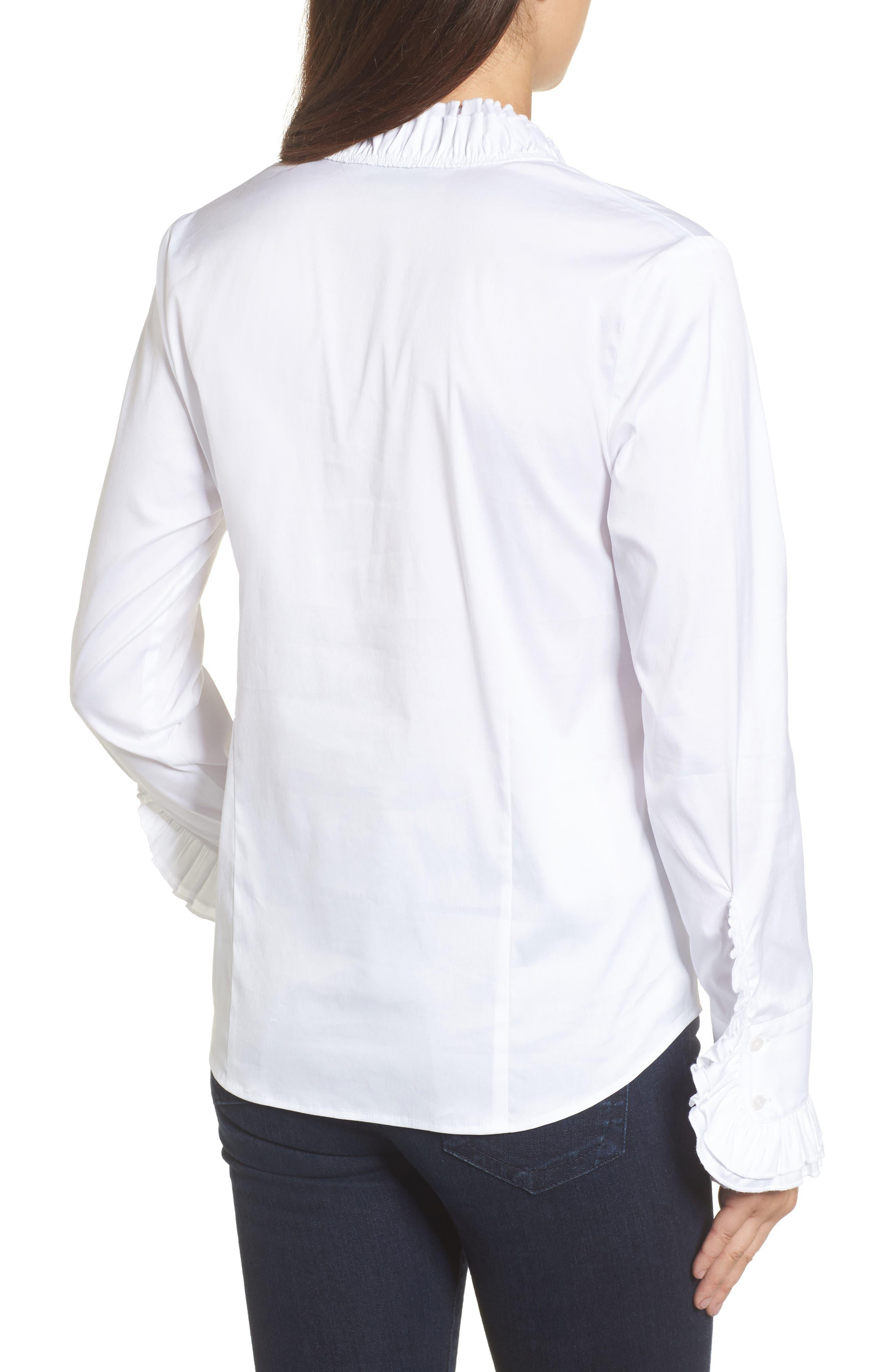Alternate Image 2  - Halogen® Ruffle Front Blouse (Regular & Petite)