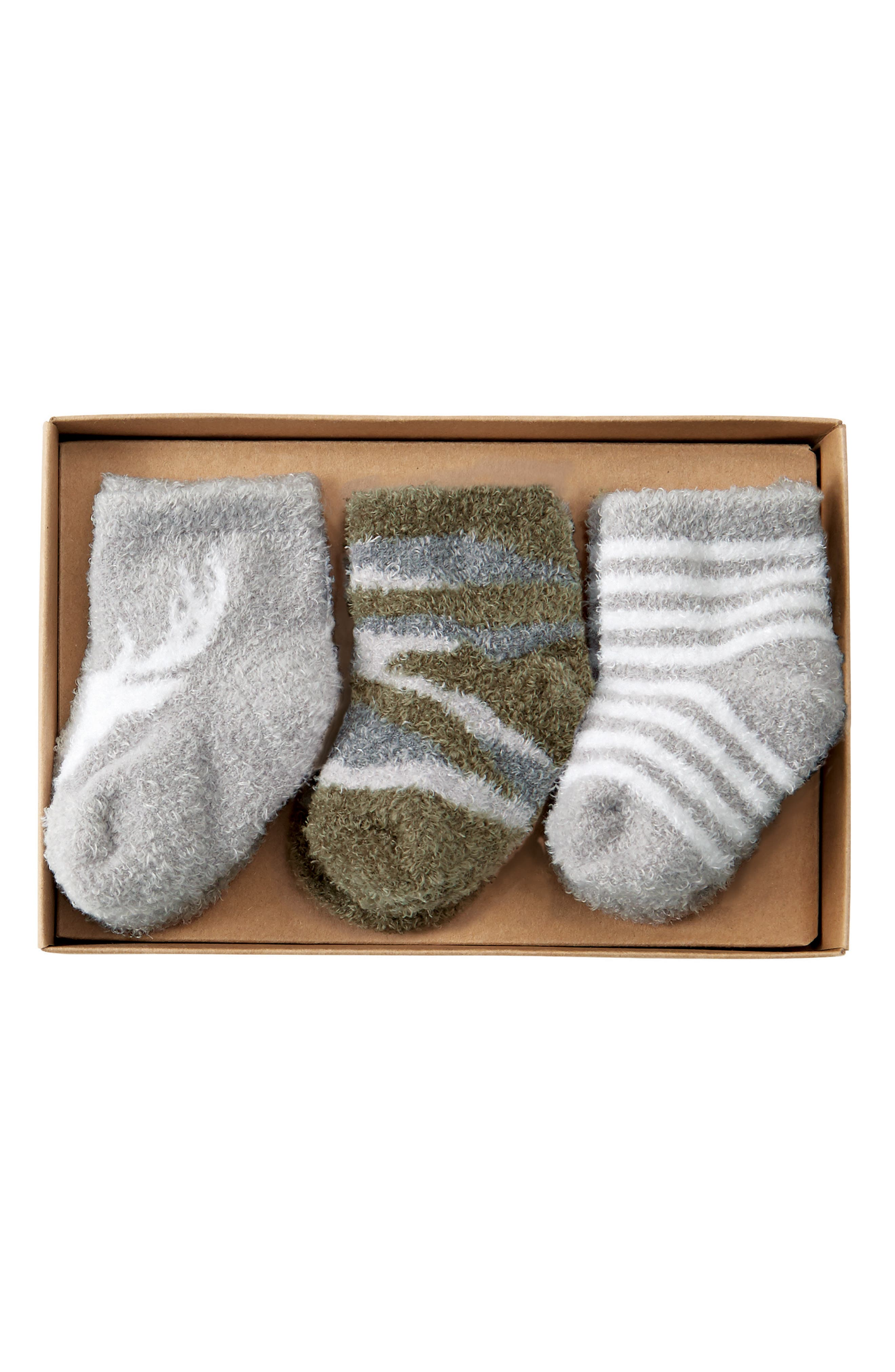 Little Deer 3-Pack Socks,                             Main thumbnail 1, color,                             Green