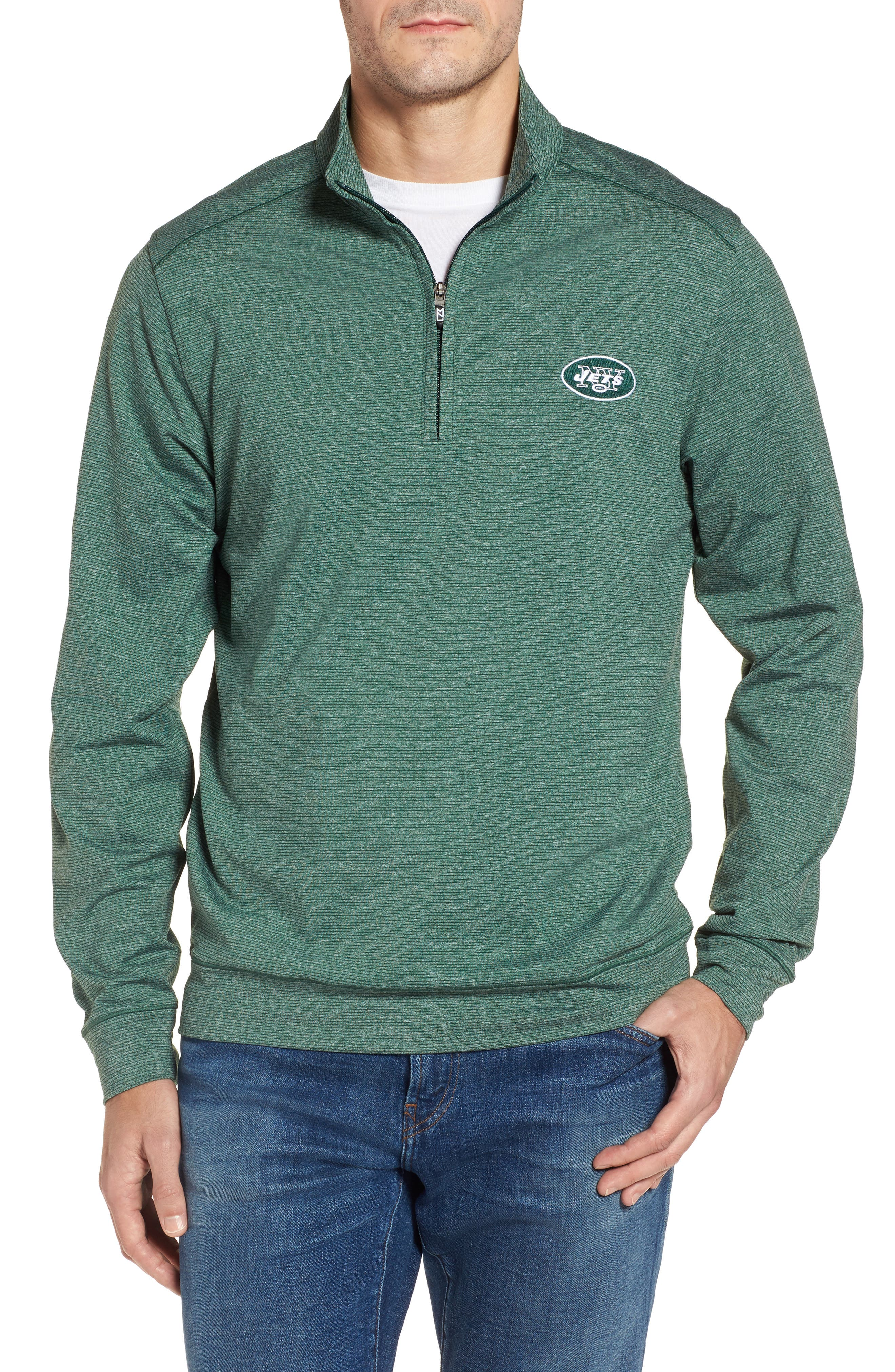 Shoreline - New York Jets Half Zip Pullover,                             Main thumbnail 1, color,                             Hunter Heather