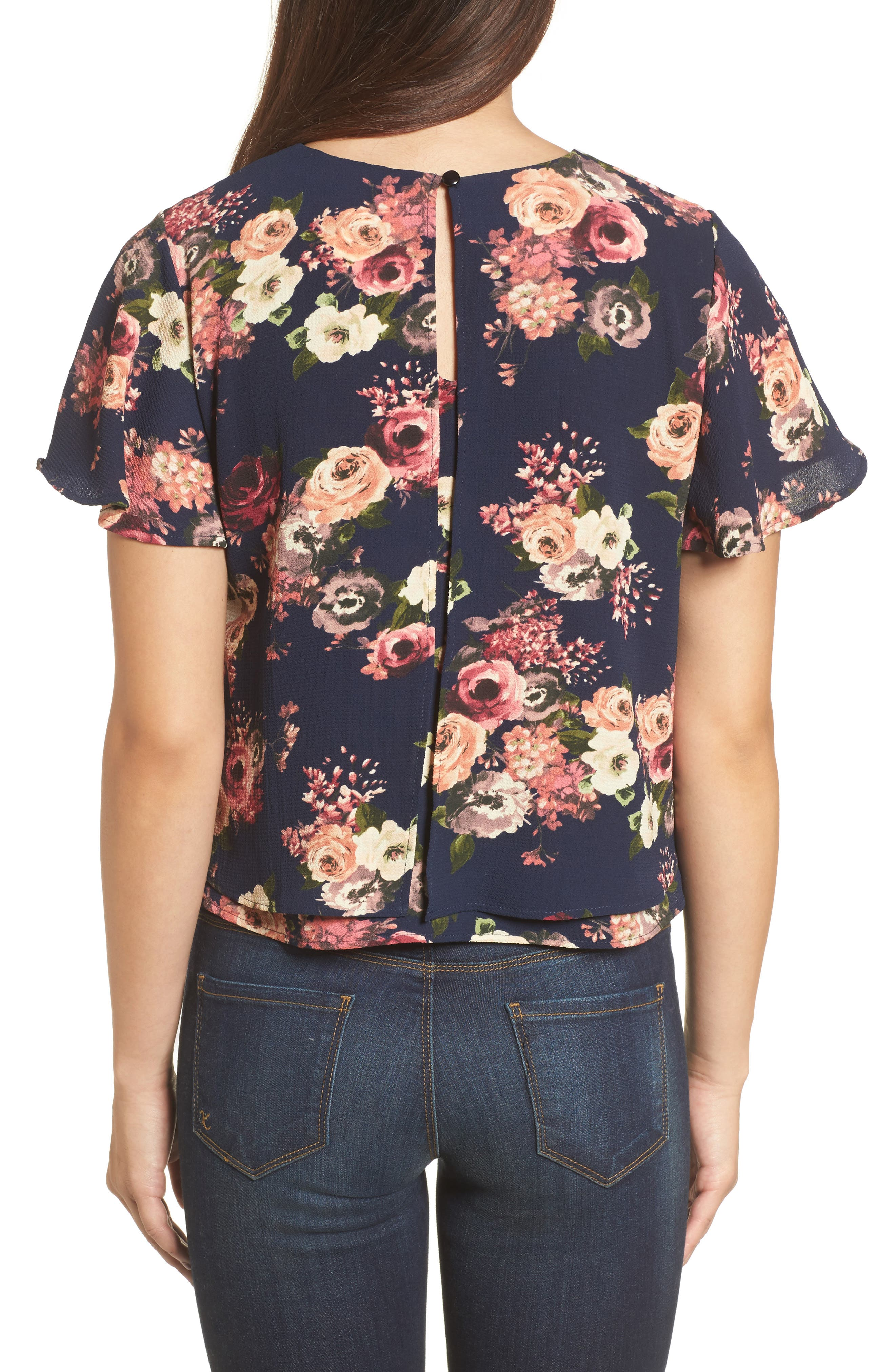 Layered Floral Top,                             Alternate thumbnail 2, color,                             Navy Floral