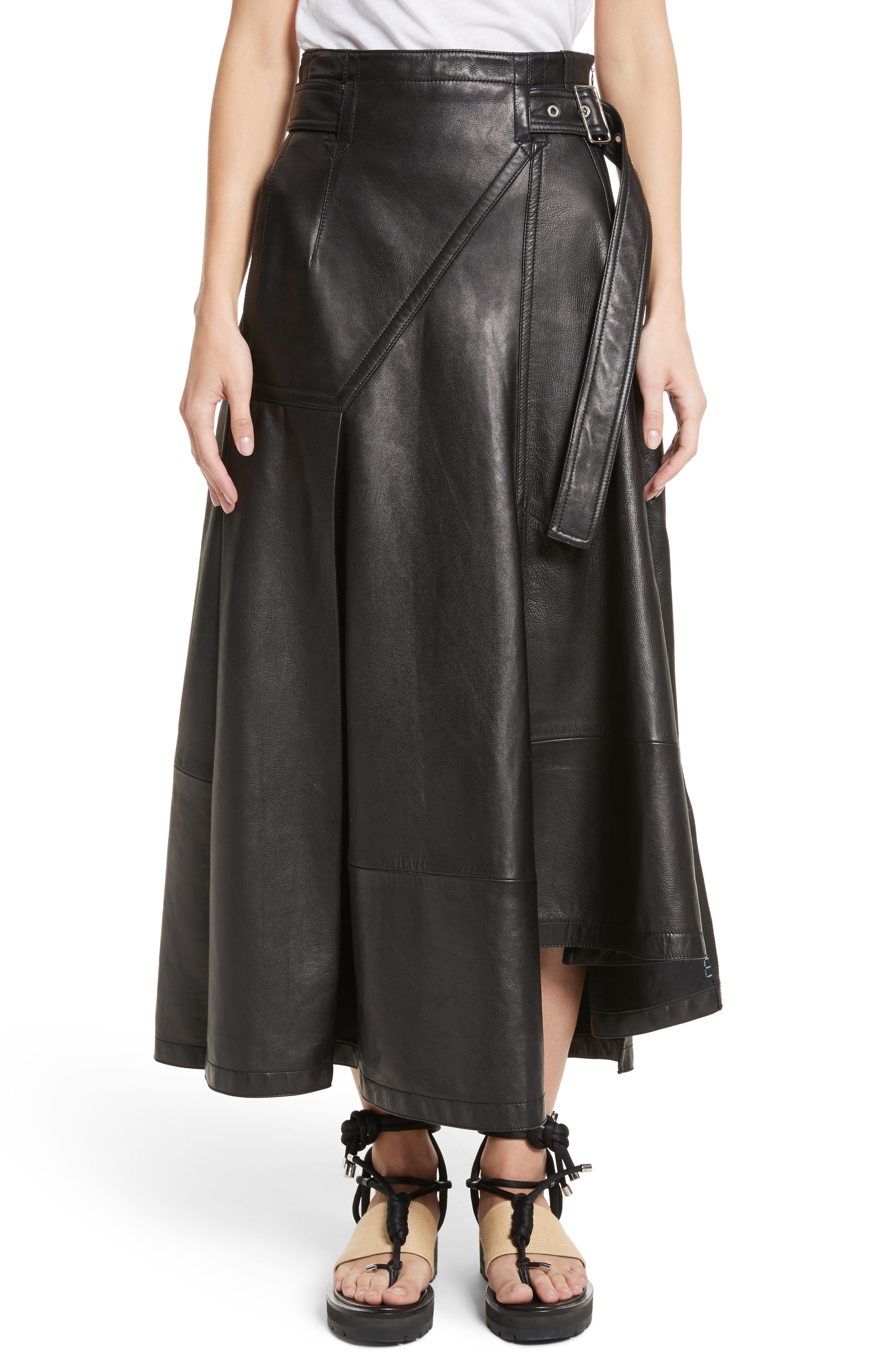 Leather Utility Skirt,                         Main,                         color, Black