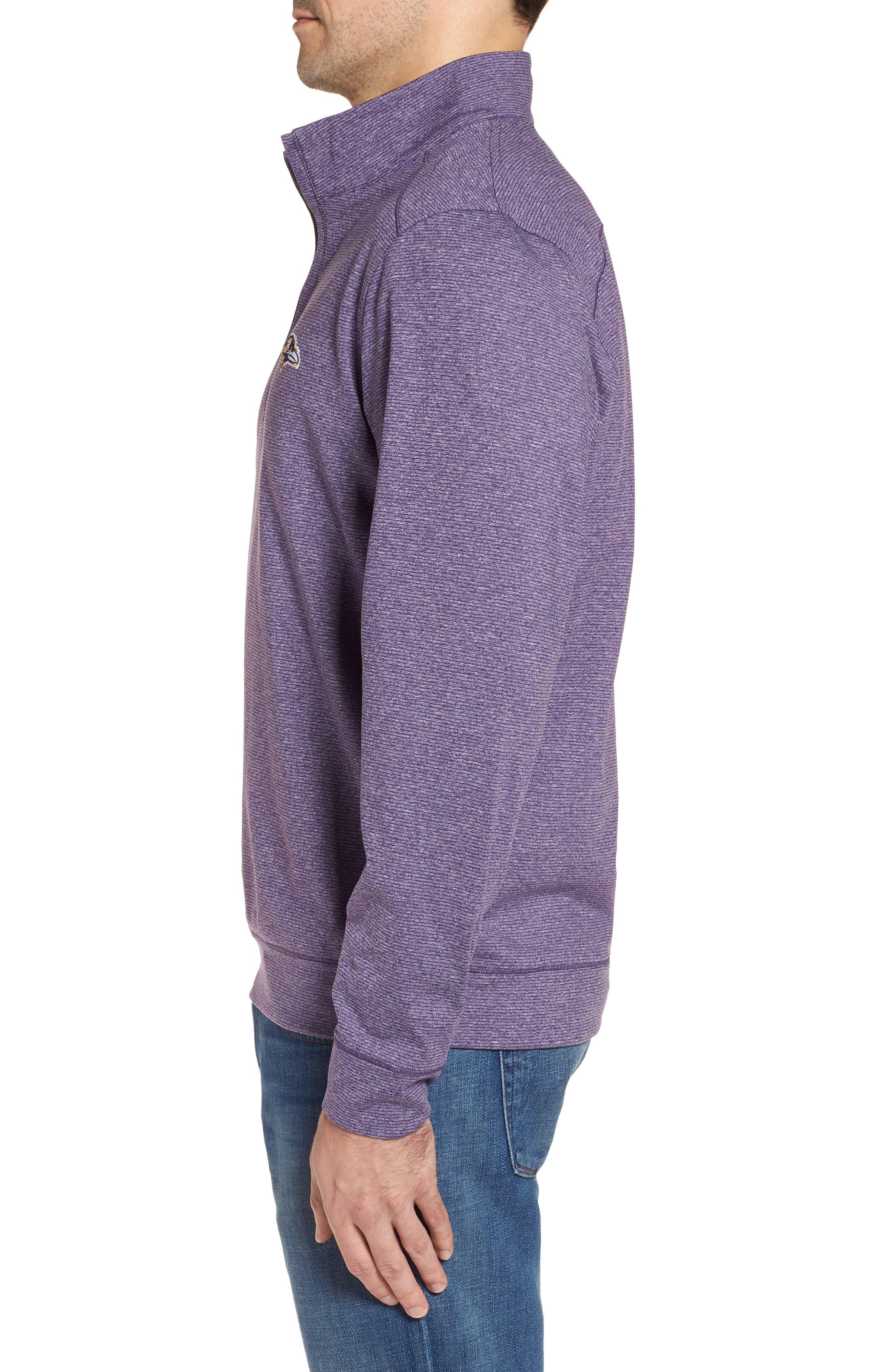 Shoreline - Baltimore Ravens Half Zip Pullover,                             Alternate thumbnail 3, color,                             College Purple Heather