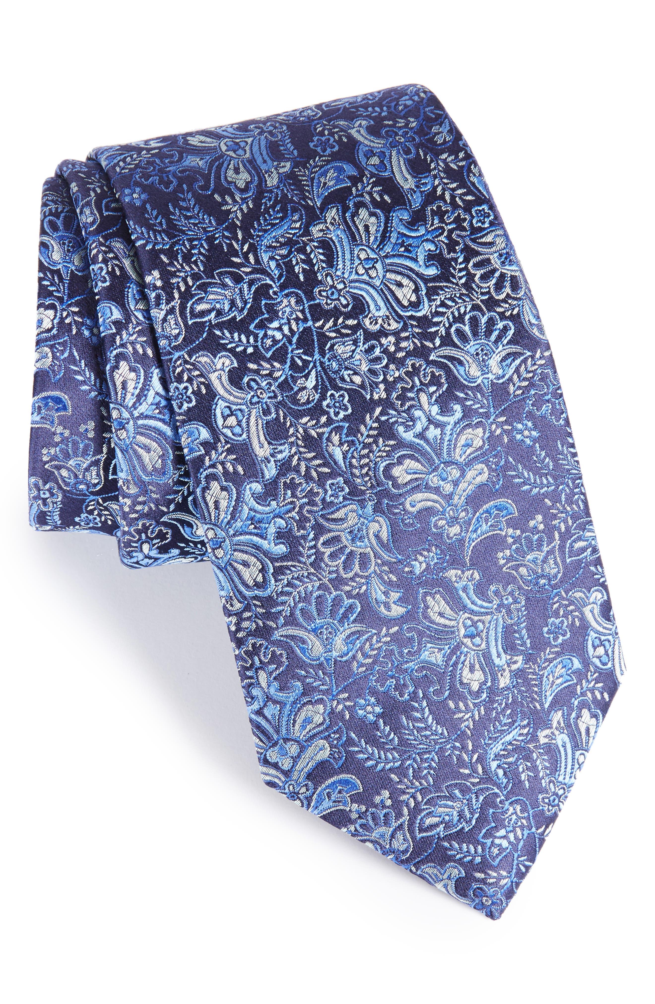 Paisley Silk Tie,                             Main thumbnail 1, color,                             Dark Blue